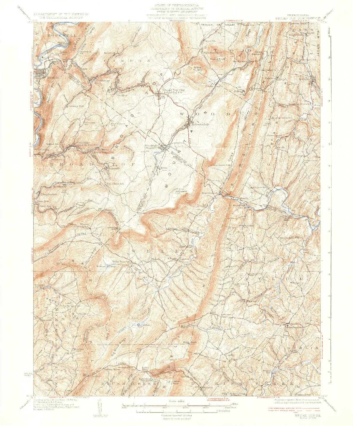USGS 1:62500-SCALE QUADRANGLE FOR BROAD TOP, PA 1933