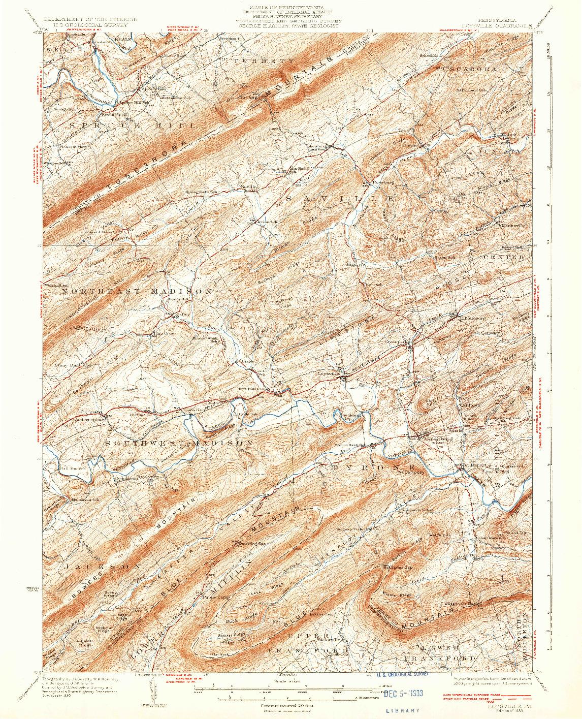 USGS 1:62500-SCALE QUADRANGLE FOR LOYSVILLE, PA 1933