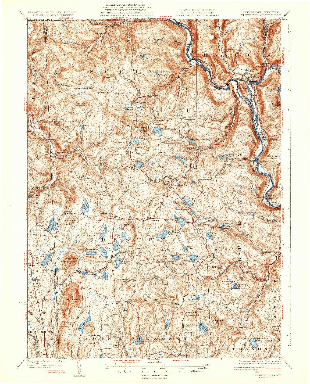 USGS 1:62500-SCALE QUADRANGLE FOR STARRUCCA, PA 1933