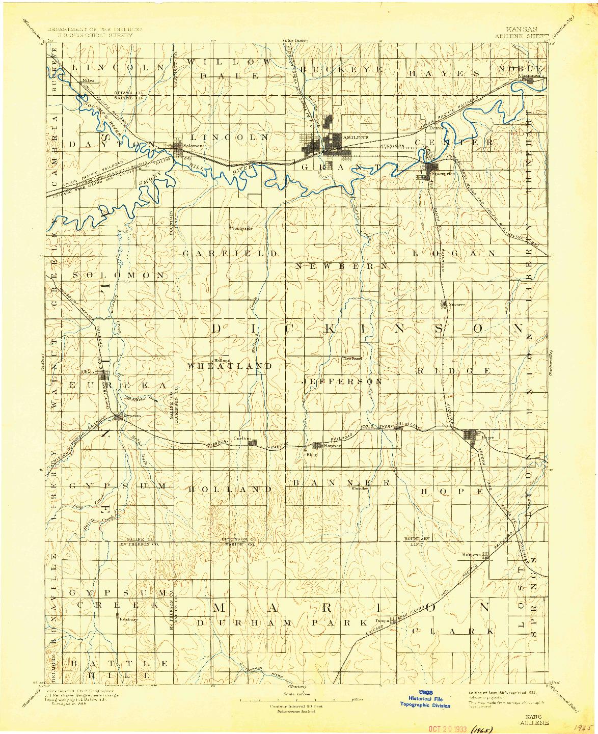 USGS 1:125000-SCALE QUADRANGLE FOR ABILENE, KS 1894