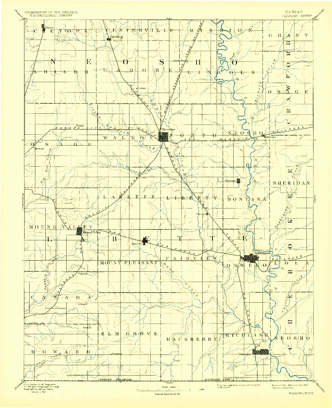 USGS 1:125000-SCALE QUADRANGLE FOR PARSONS, KS 1893