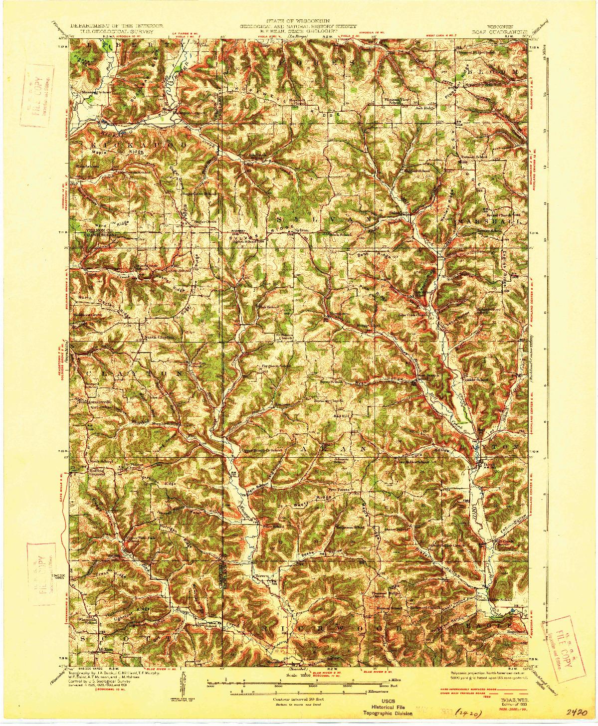 USGS 1:62500-SCALE QUADRANGLE FOR BOAZ, WI 1933
