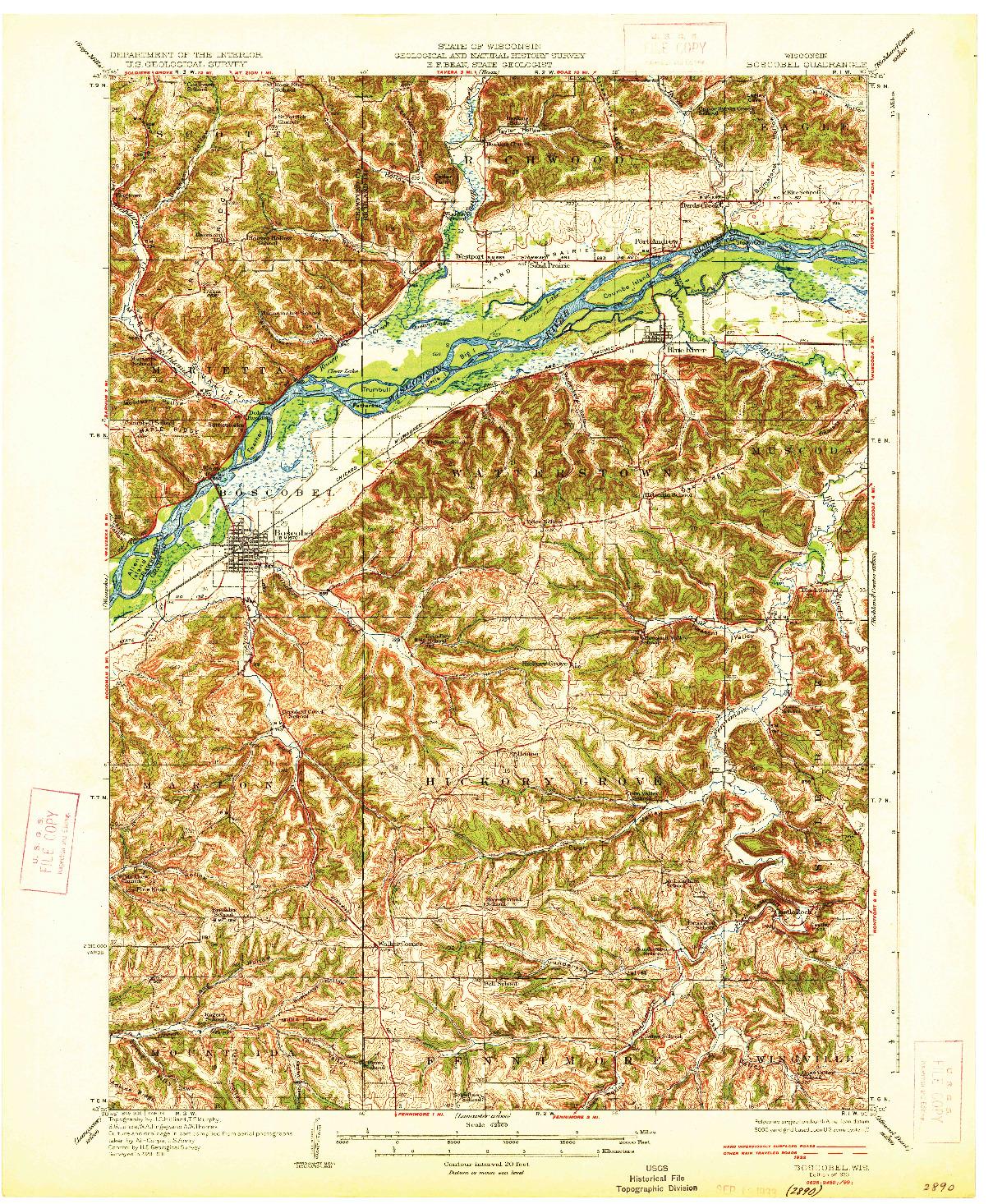 USGS 1:62500-SCALE QUADRANGLE FOR BOSCOBEL, WI 1933