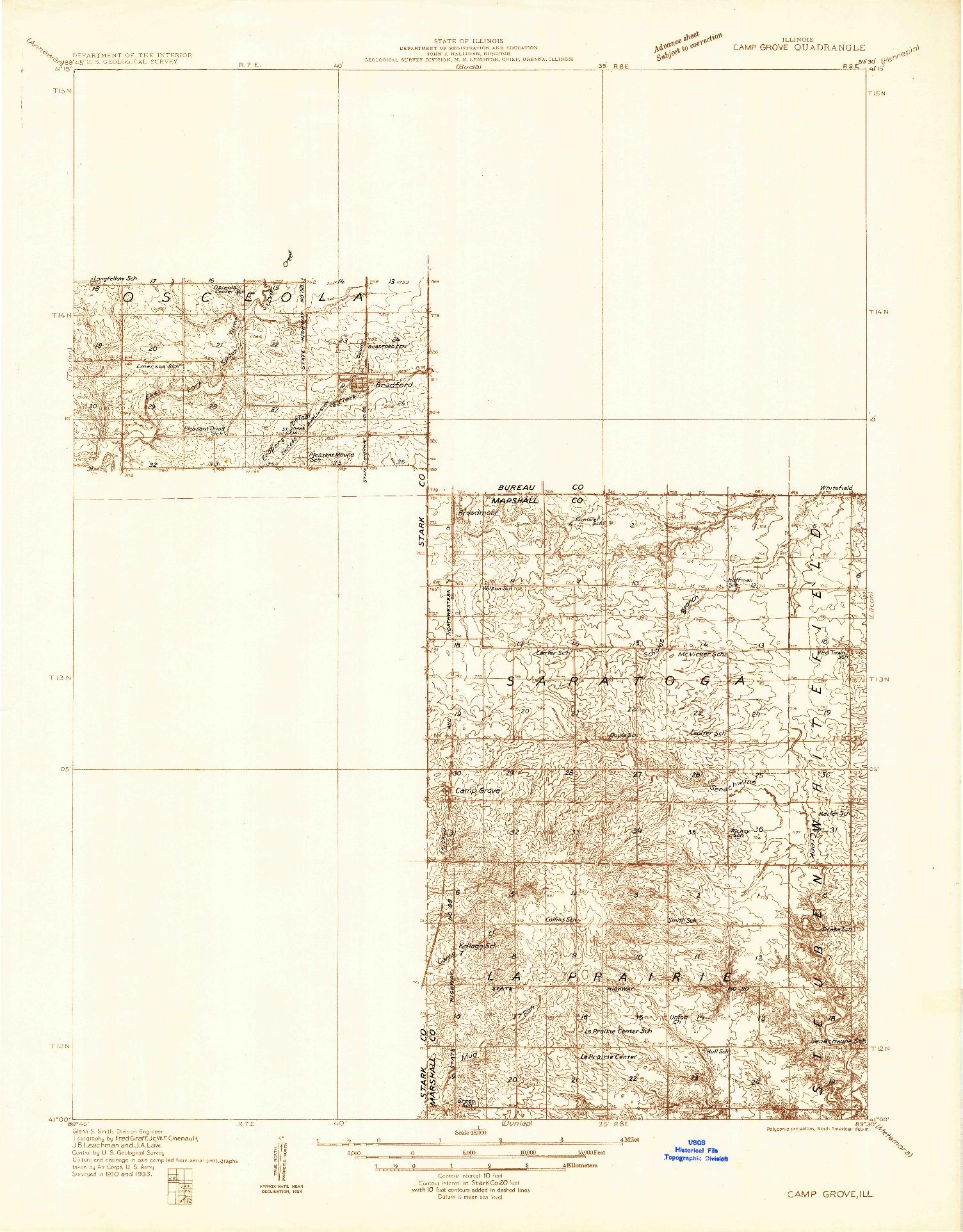 USGS 1:48000-SCALE QUADRANGLE FOR CAMP GROVE, IL 1933