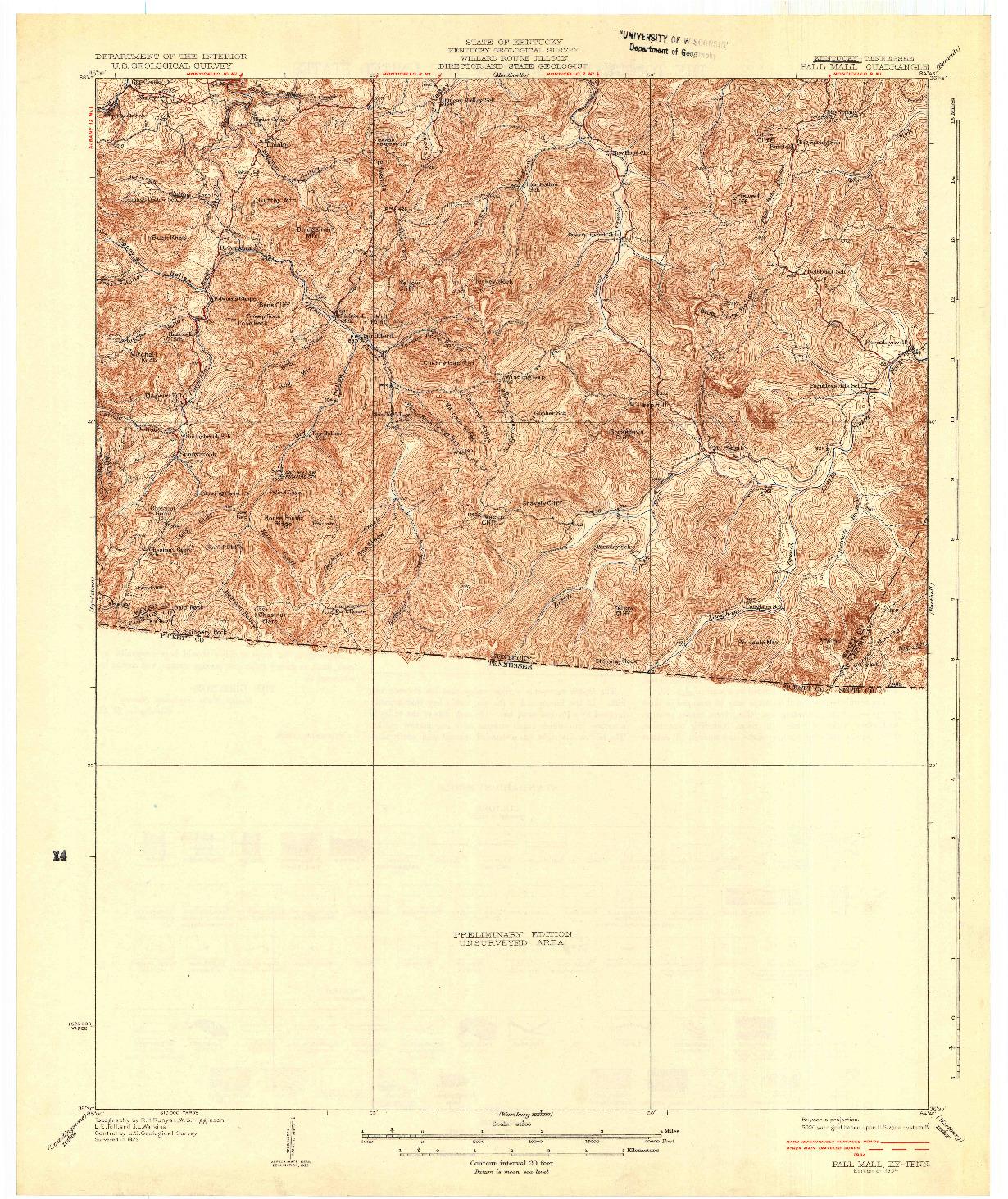 USGS 1:62500-SCALE QUADRANGLE FOR PALL MALL, KY 1934