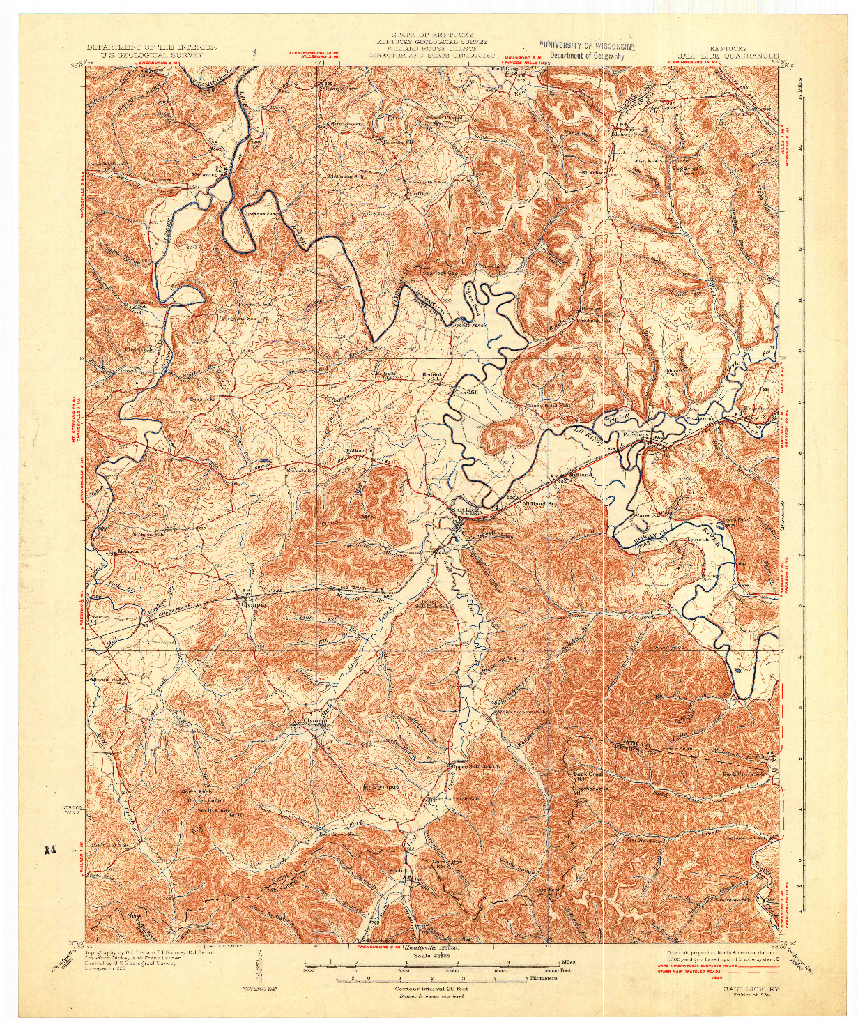 USGS 1:62500-SCALE QUADRANGLE FOR SALT LICK, KY 1934