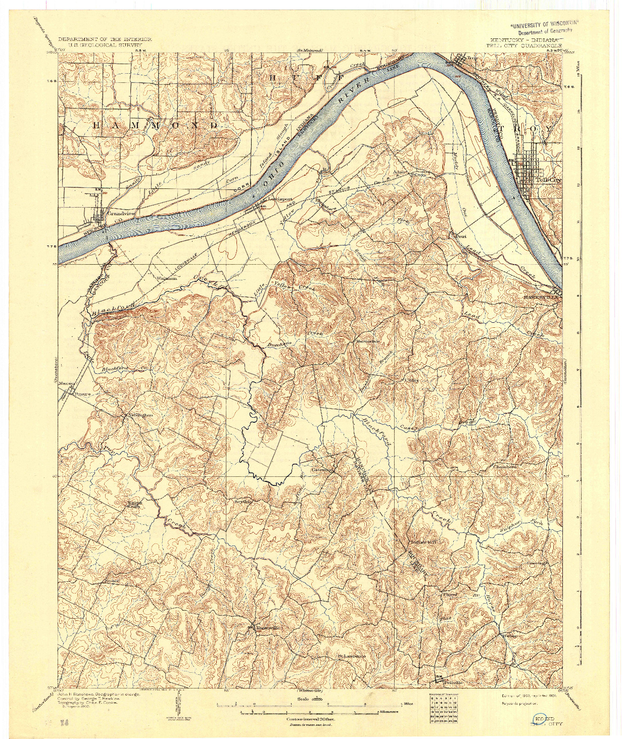 USGS 1:62500-SCALE QUADRANGLE FOR TELL CITY, KY 1903