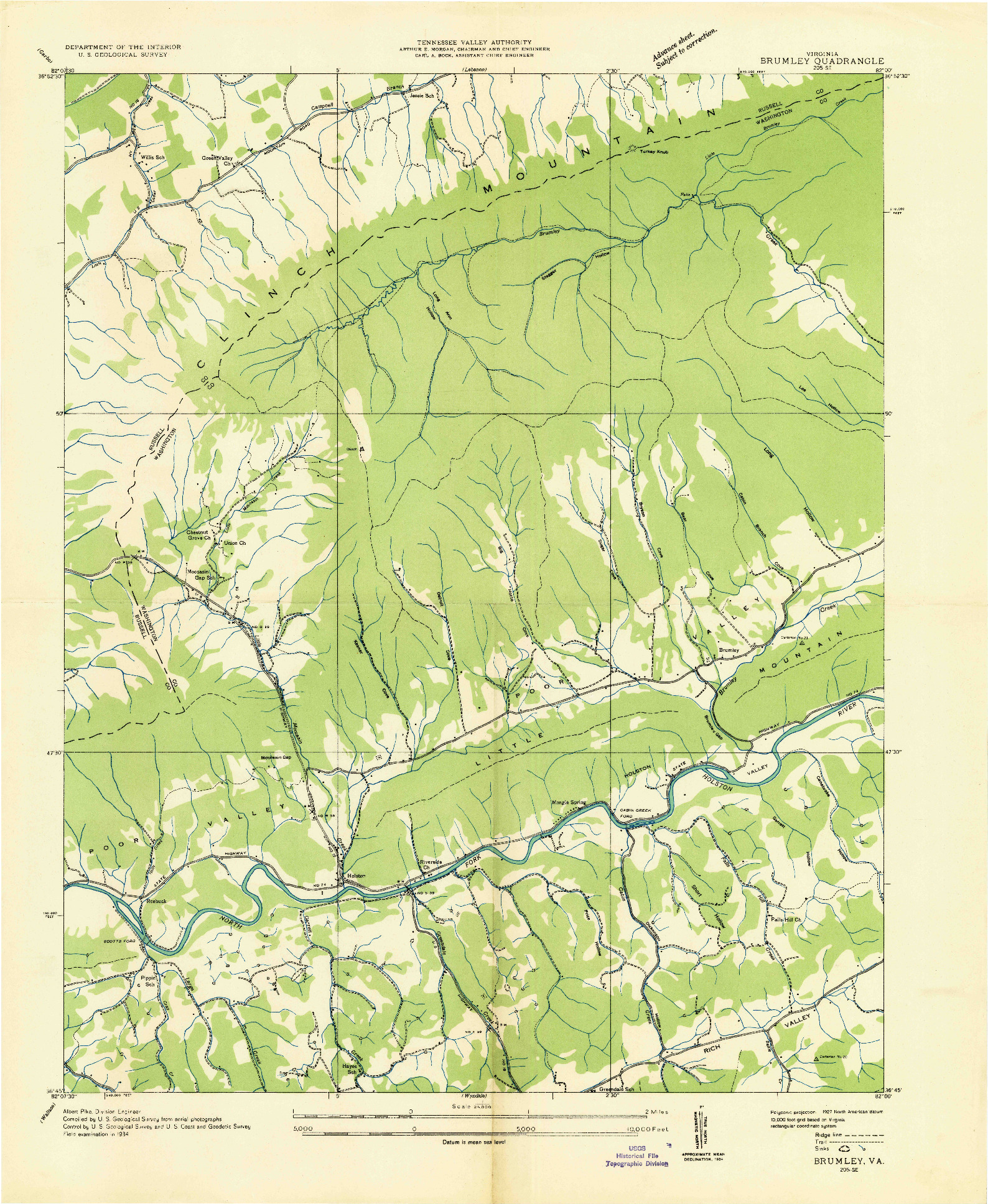 USGS 1:24000-SCALE QUADRANGLE FOR BRUMLEY, VA 1934