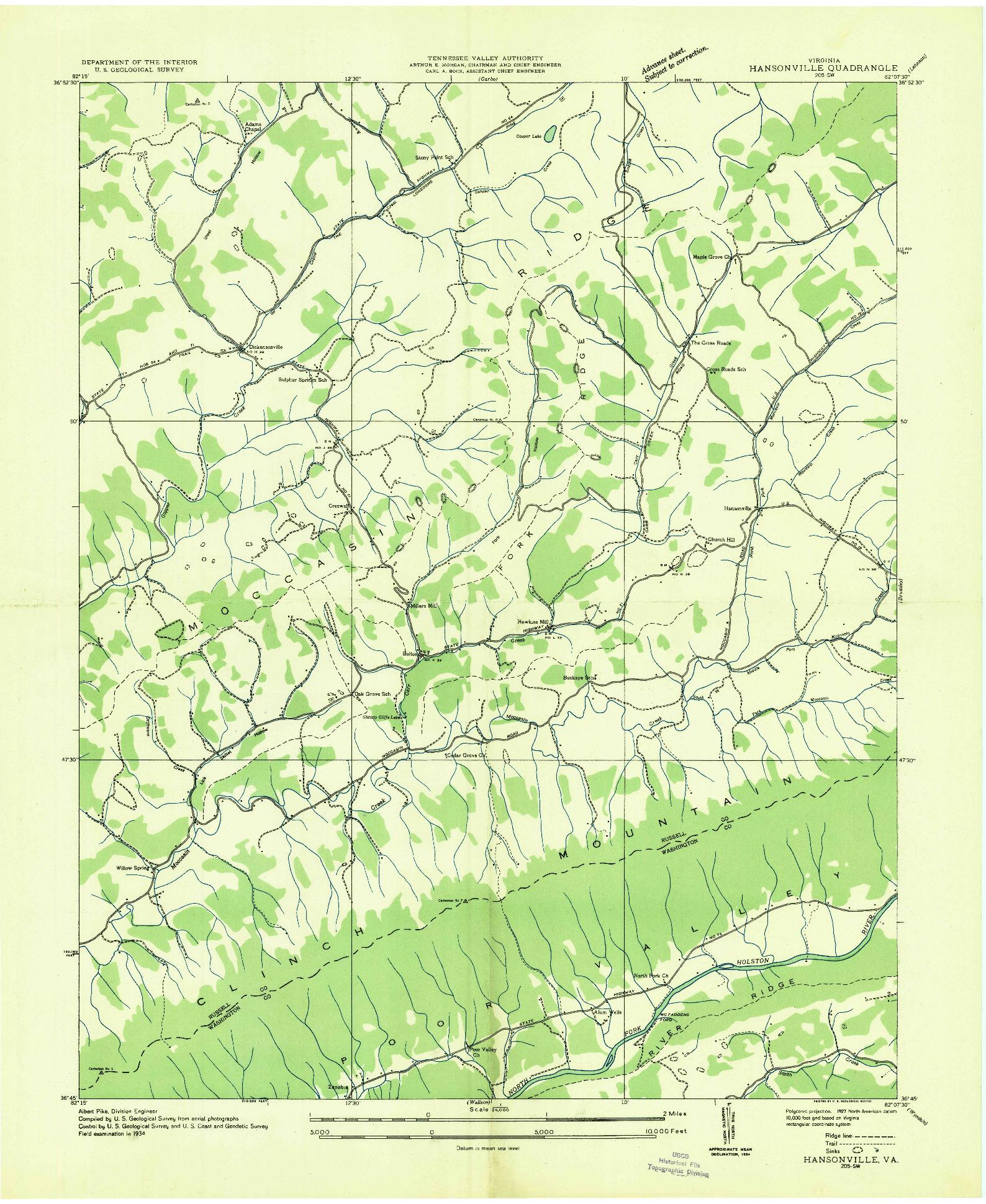 USGS 1:24000-SCALE QUADRANGLE FOR HANSONVILLE, VA 1934