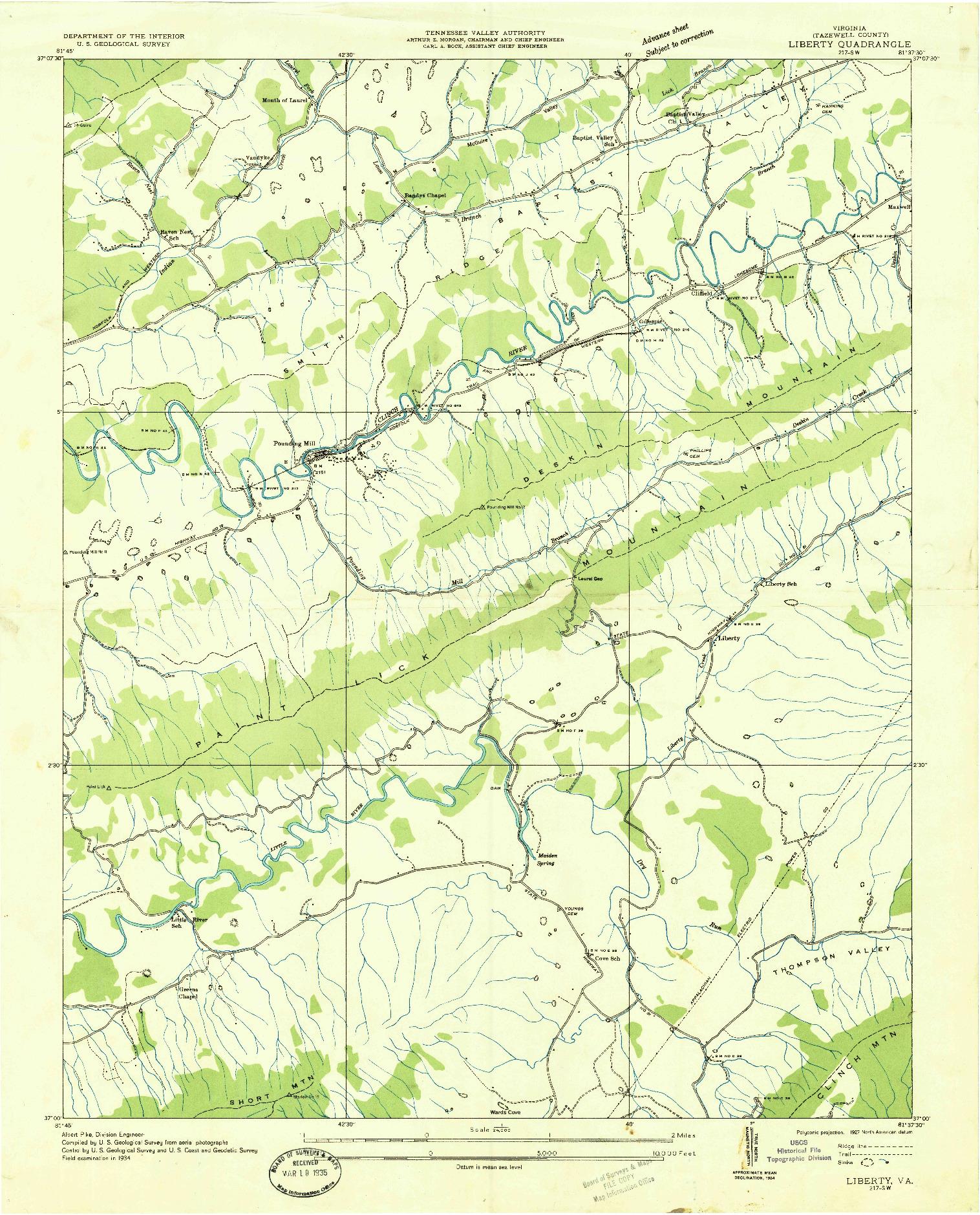 USGS 1:24000-SCALE QUADRANGLE FOR LIBERTY, VA 1934