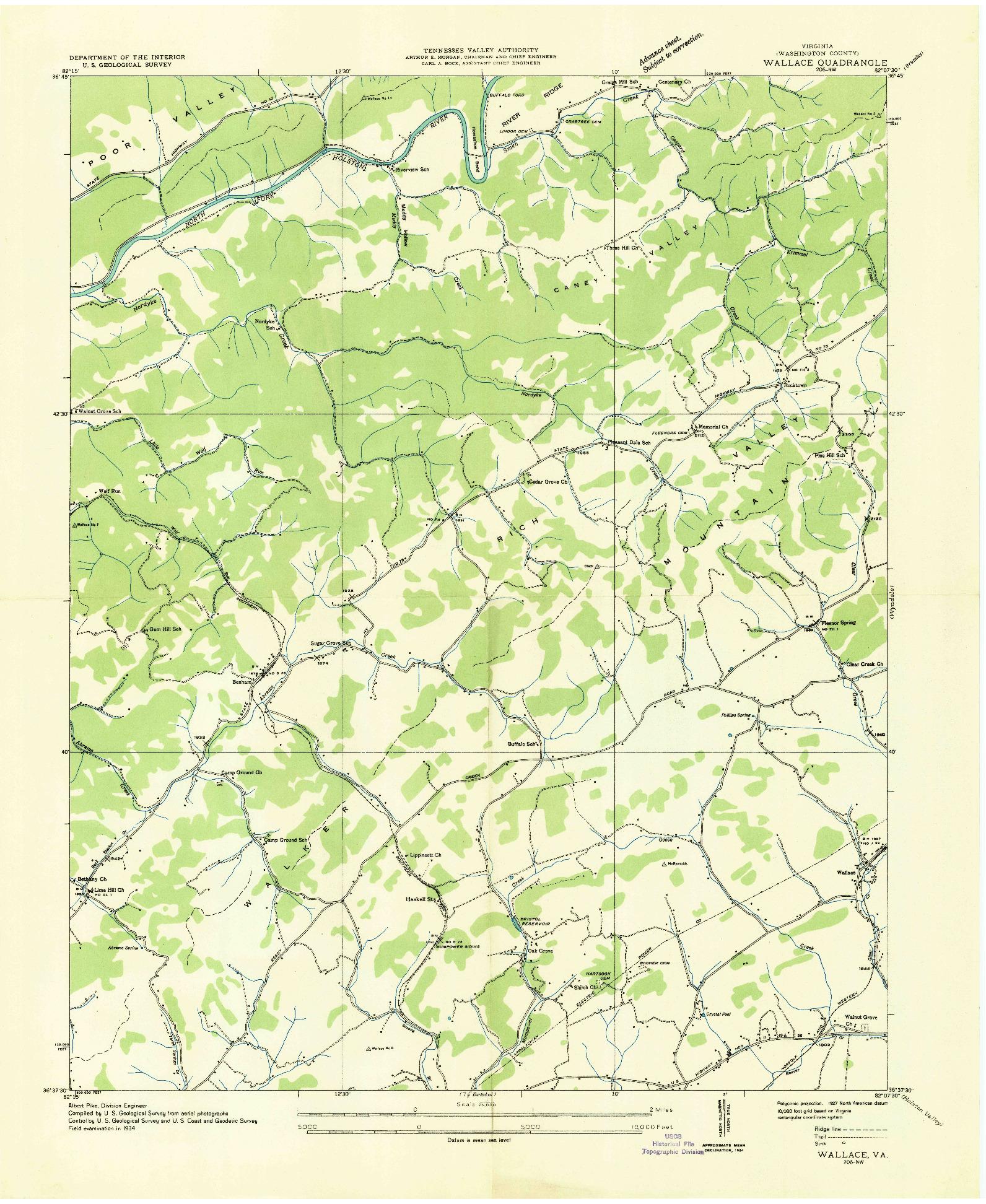 USGS 1:24000-SCALE QUADRANGLE FOR WALLACE, VA 1934