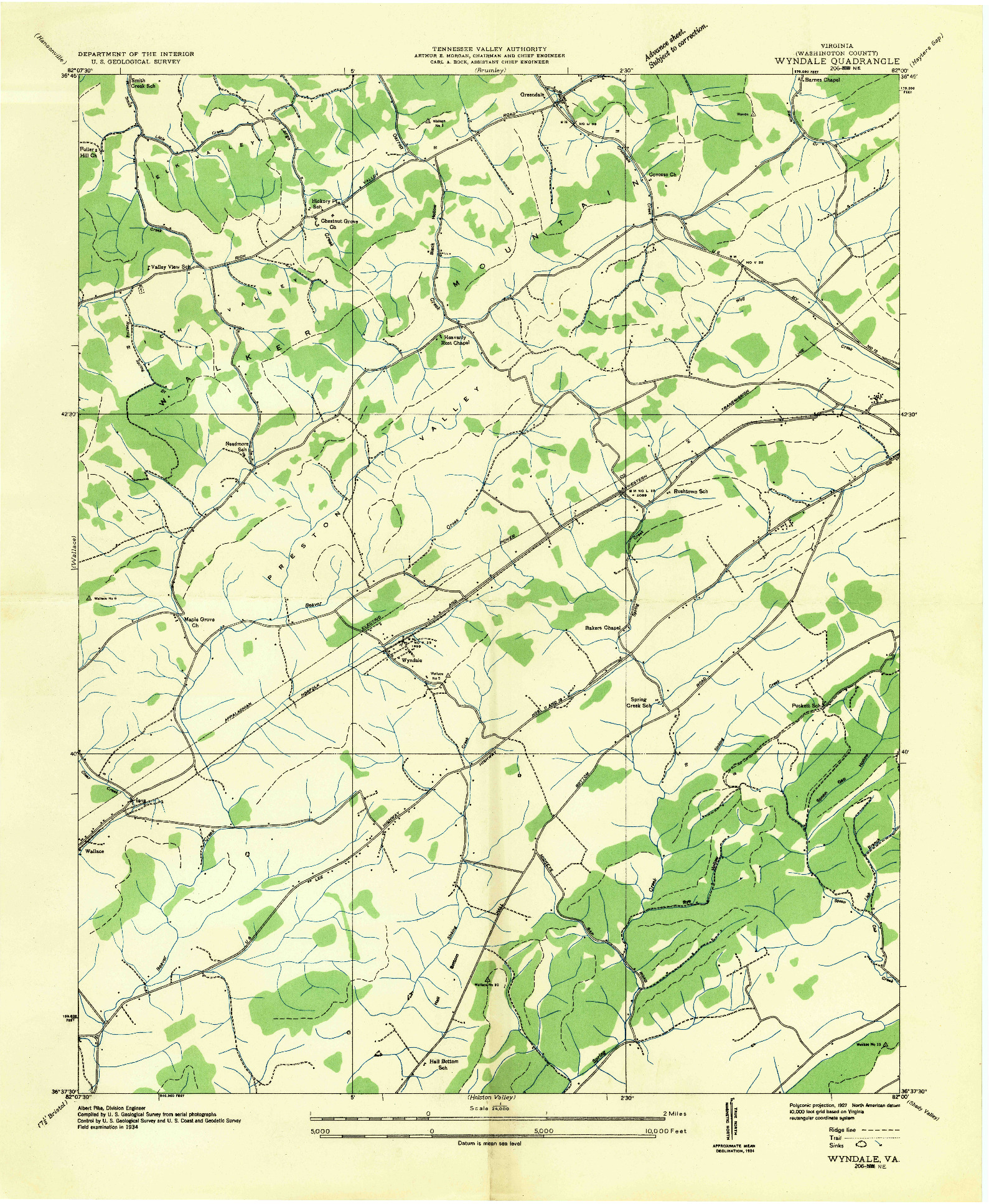 USGS 1:24000-SCALE QUADRANGLE FOR WYNDALE, VA 1934