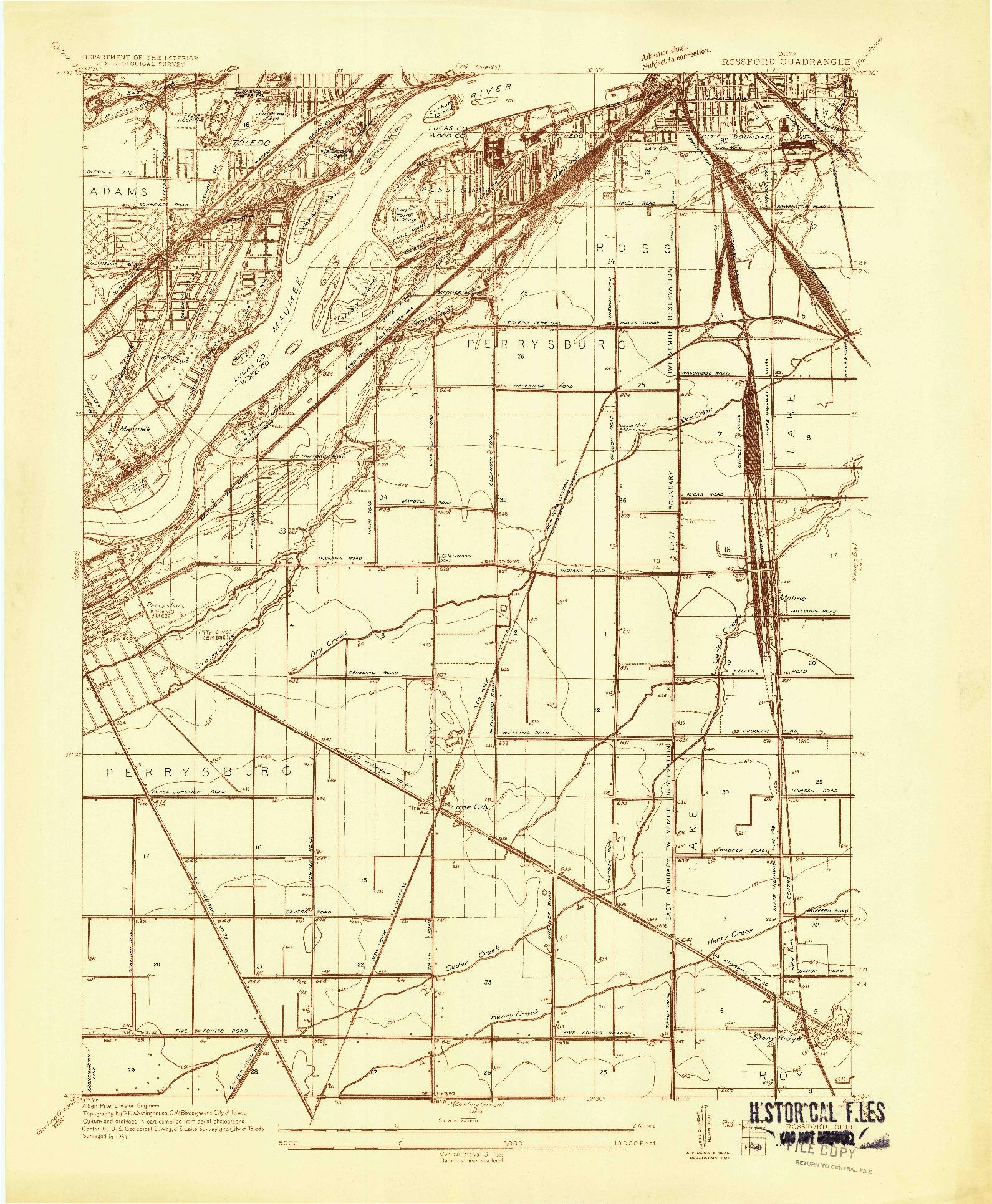 USGS 1:24000-SCALE QUADRANGLE FOR ROSSFORD, OH 1934