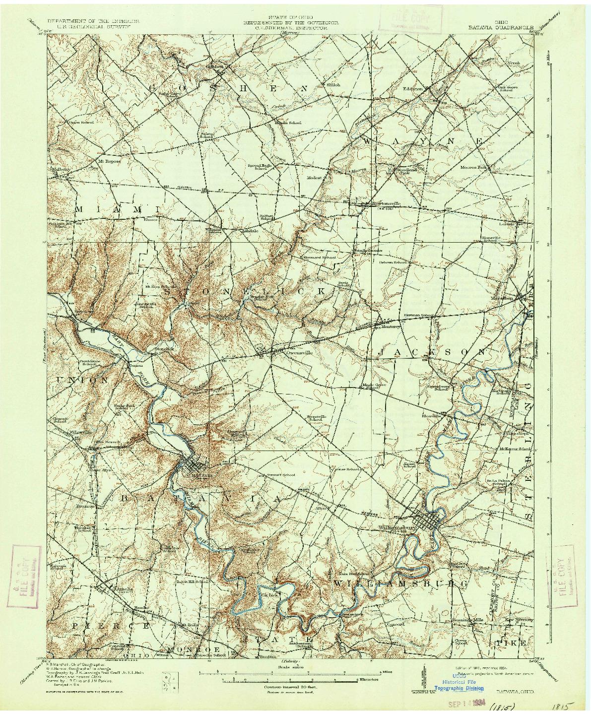 USGS 1:62500-SCALE QUADRANGLE FOR BATAVIA, OH 1916