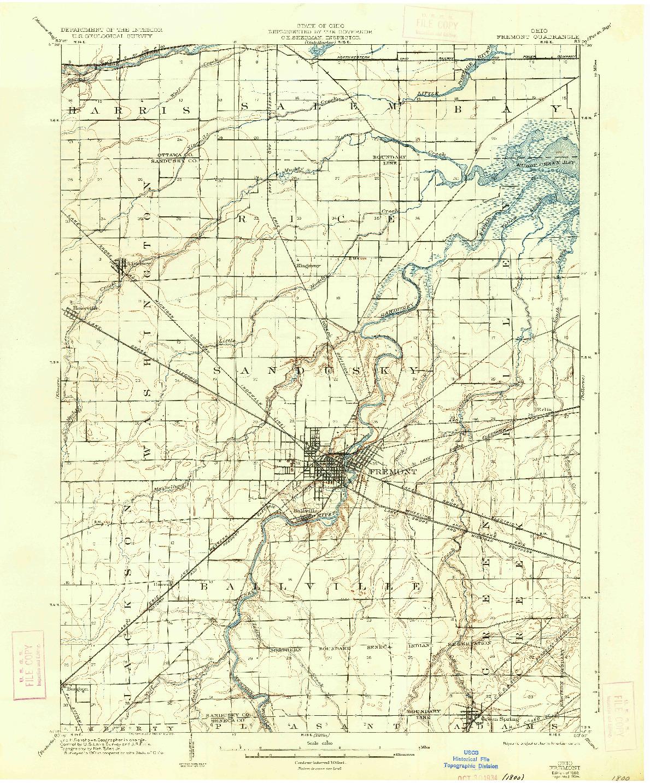 USGS 1:62500-SCALE QUADRANGLE FOR FREMONT, OH 1903