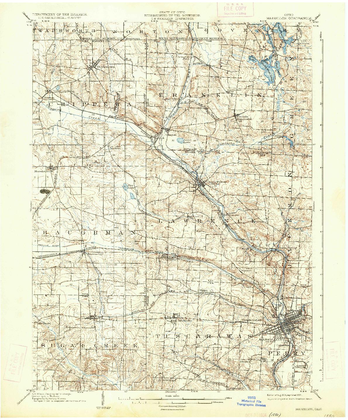USGS 1:62500-SCALE QUADRANGLE FOR MASSILLON, OH 1903
