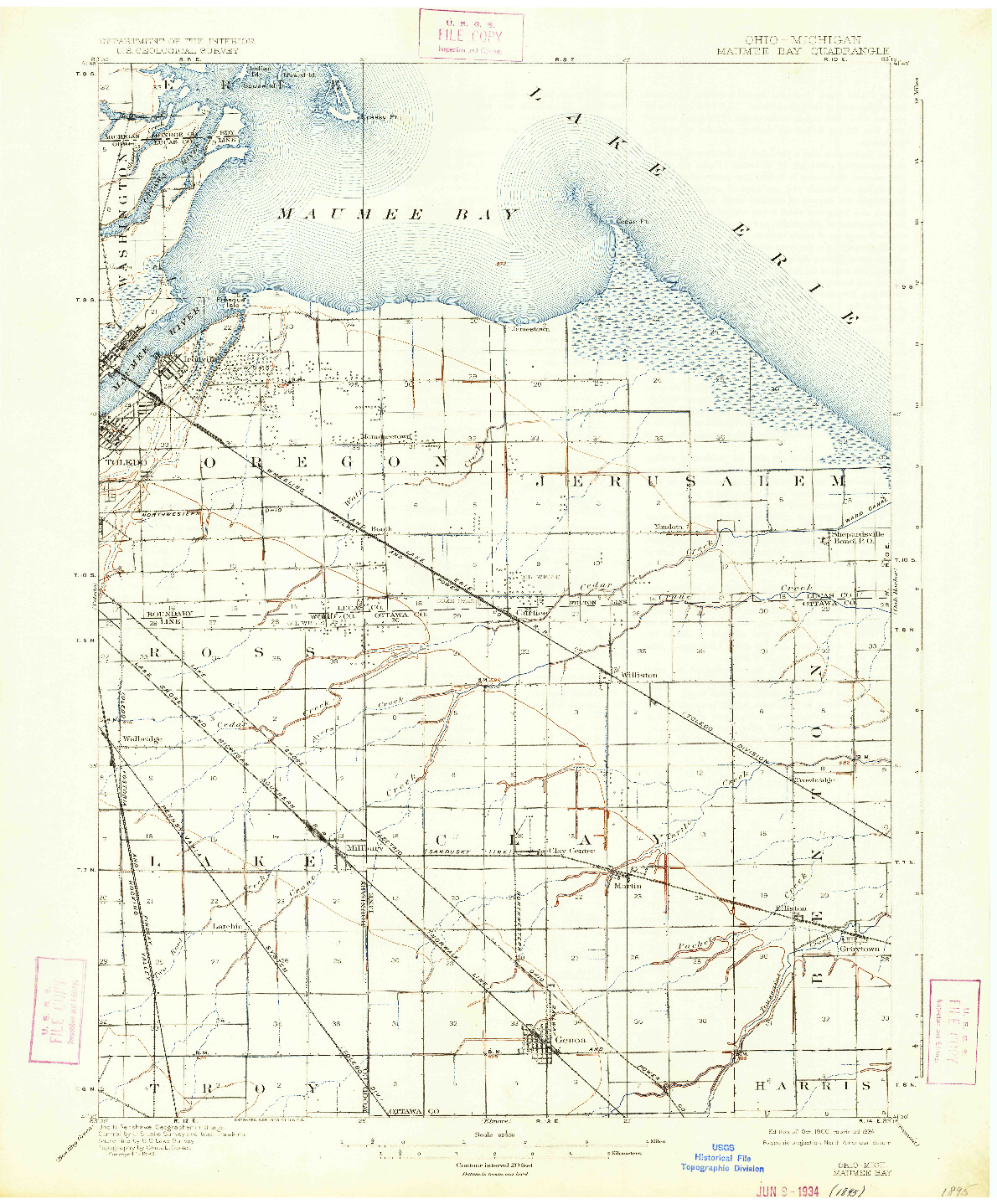 USGS 1:62500-SCALE QUADRANGLE FOR MAUMEE BAY, OH 1900