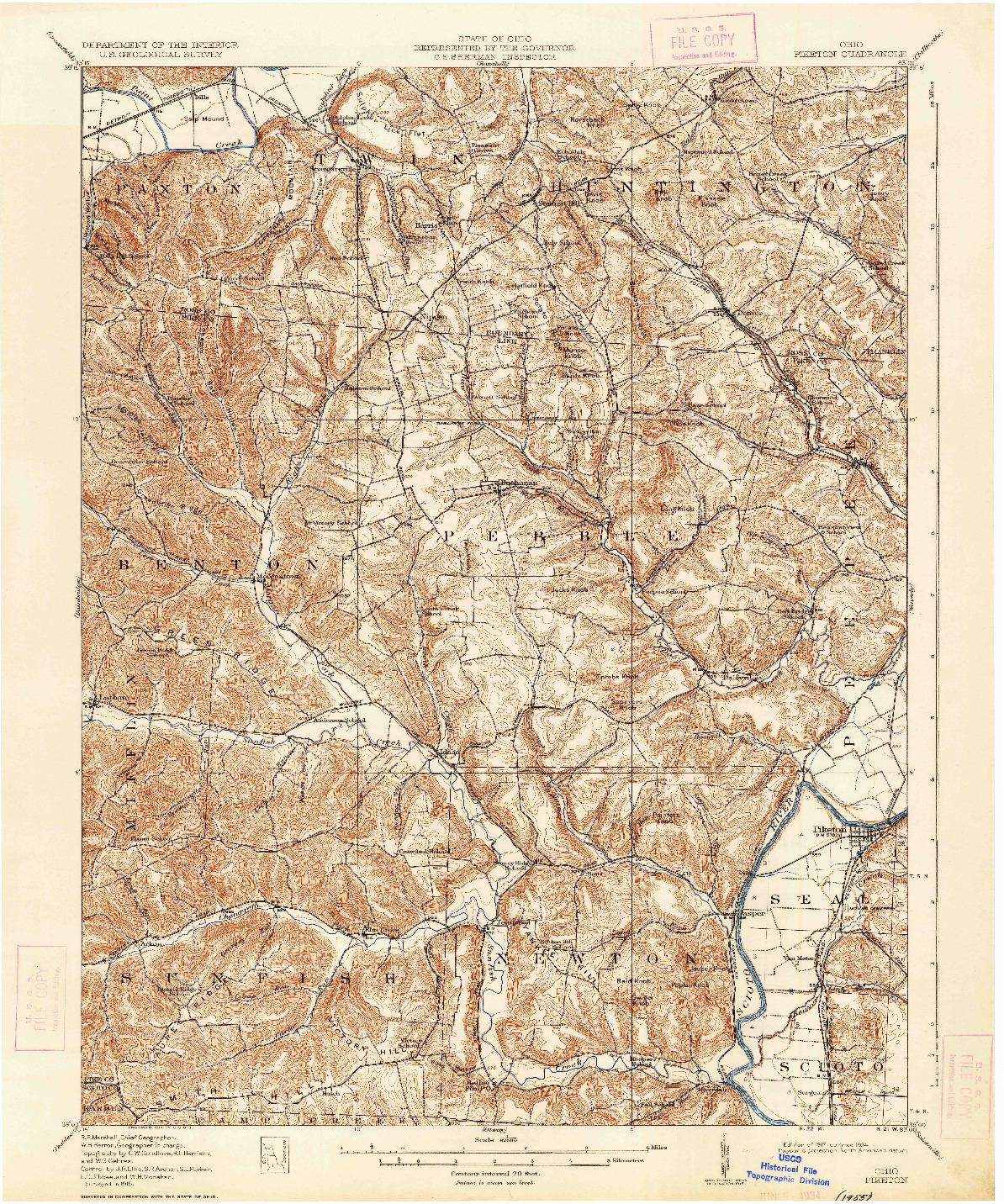 USGS 1:62500-SCALE QUADRANGLE FOR PIKETON, OH 1917