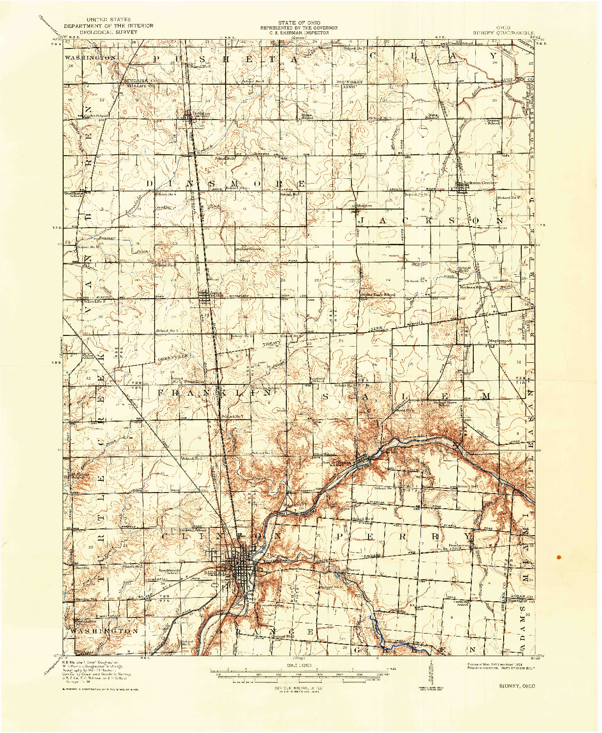 USGS 1:62500-SCALE QUADRANGLE FOR SIDNEY, OH 1913