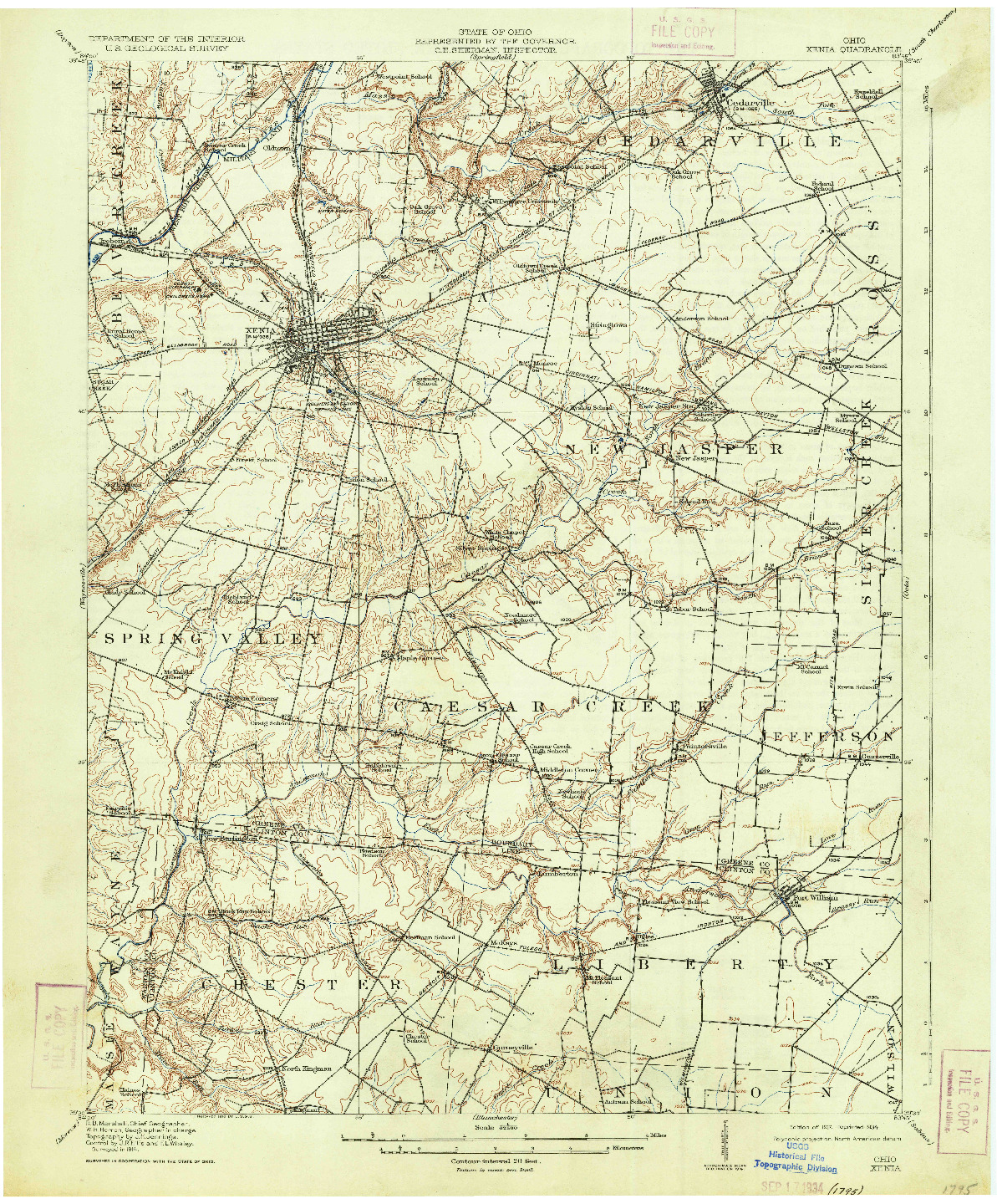 USGS 1:62500-SCALE QUADRANGLE FOR XENIA, OH 1917