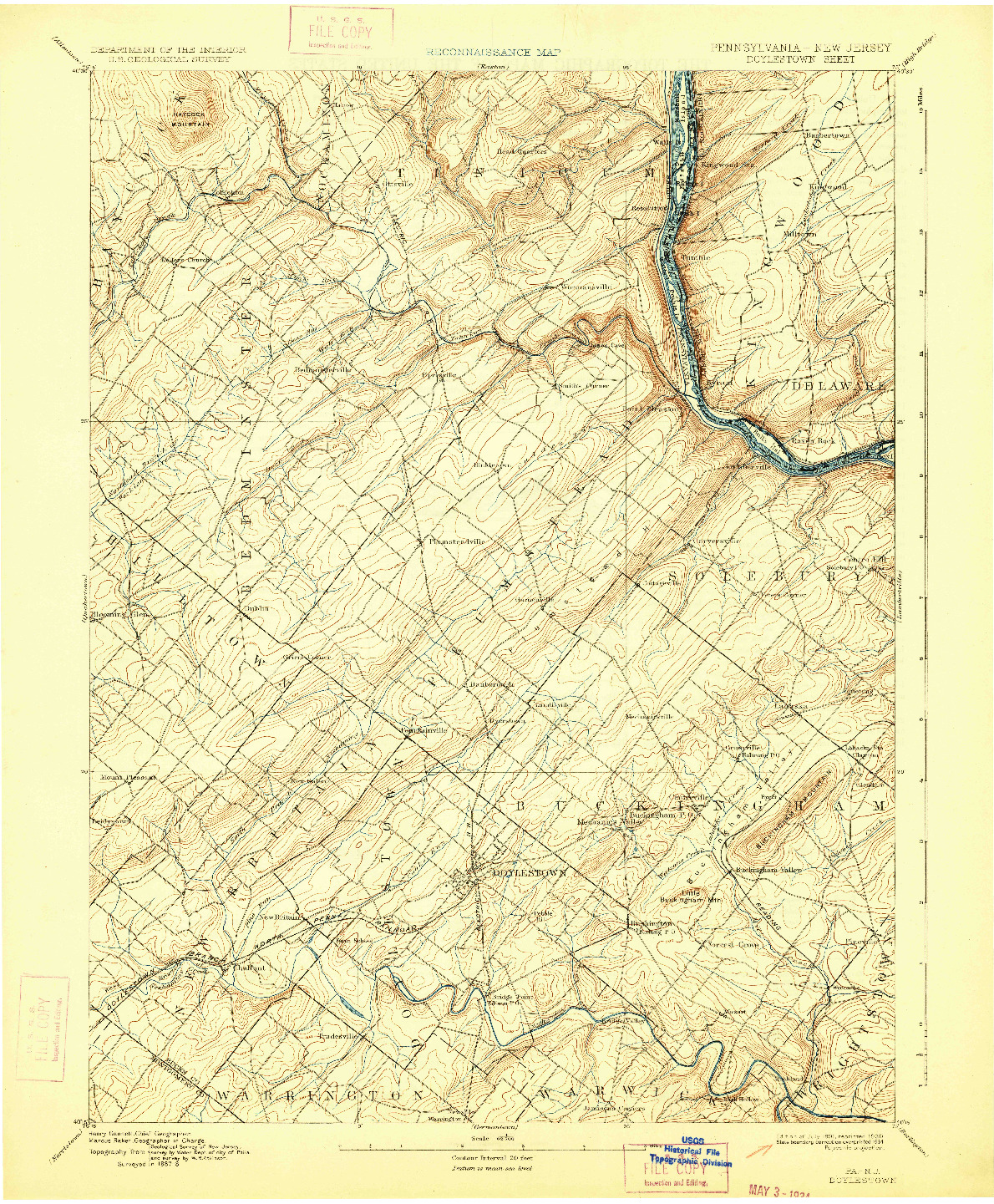 USGS 1:62500-SCALE QUADRANGLE FOR DOYLESTOWN, PA 1891