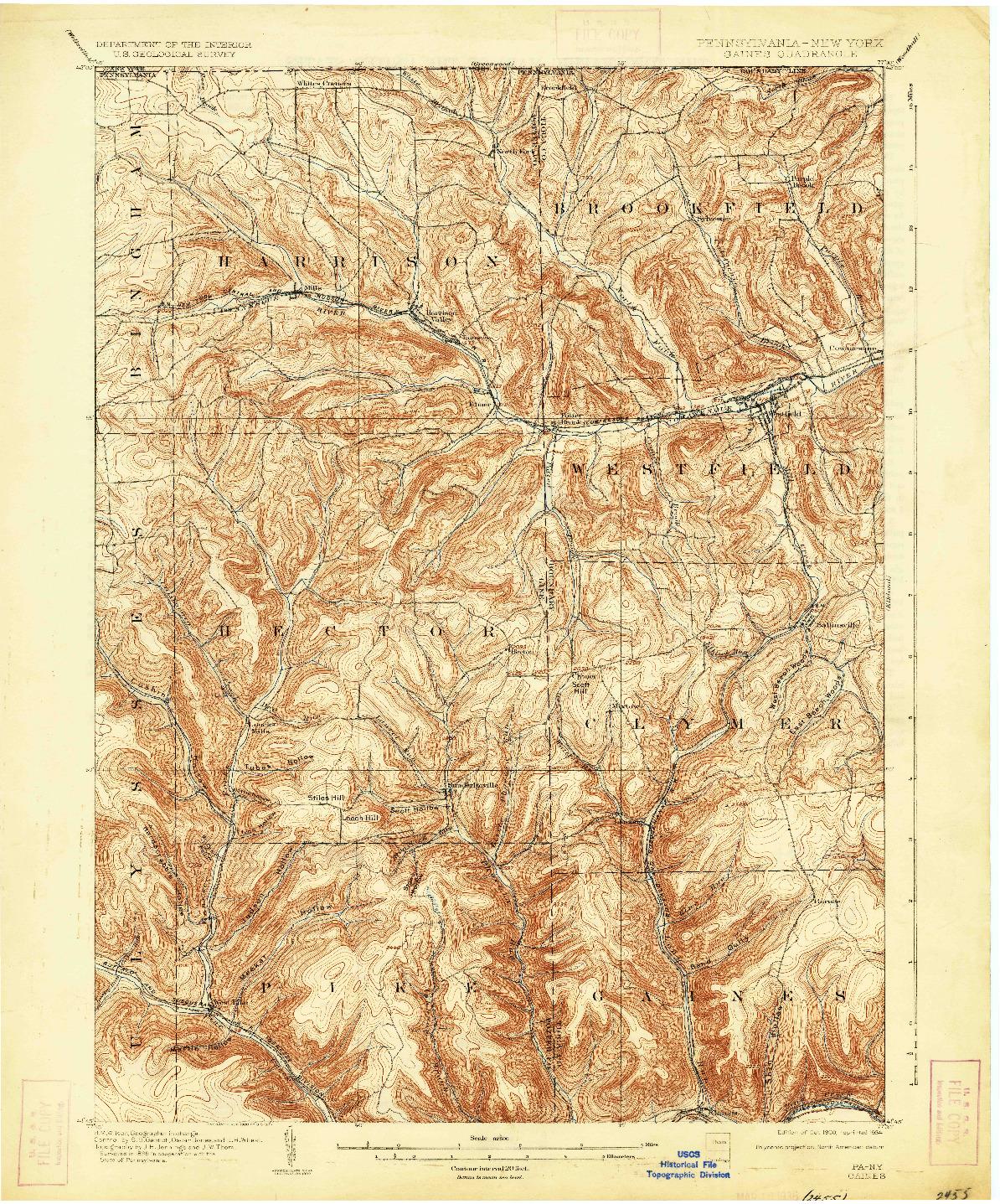 USGS 1:62500-SCALE QUADRANGLE FOR GAINES, PA 1900