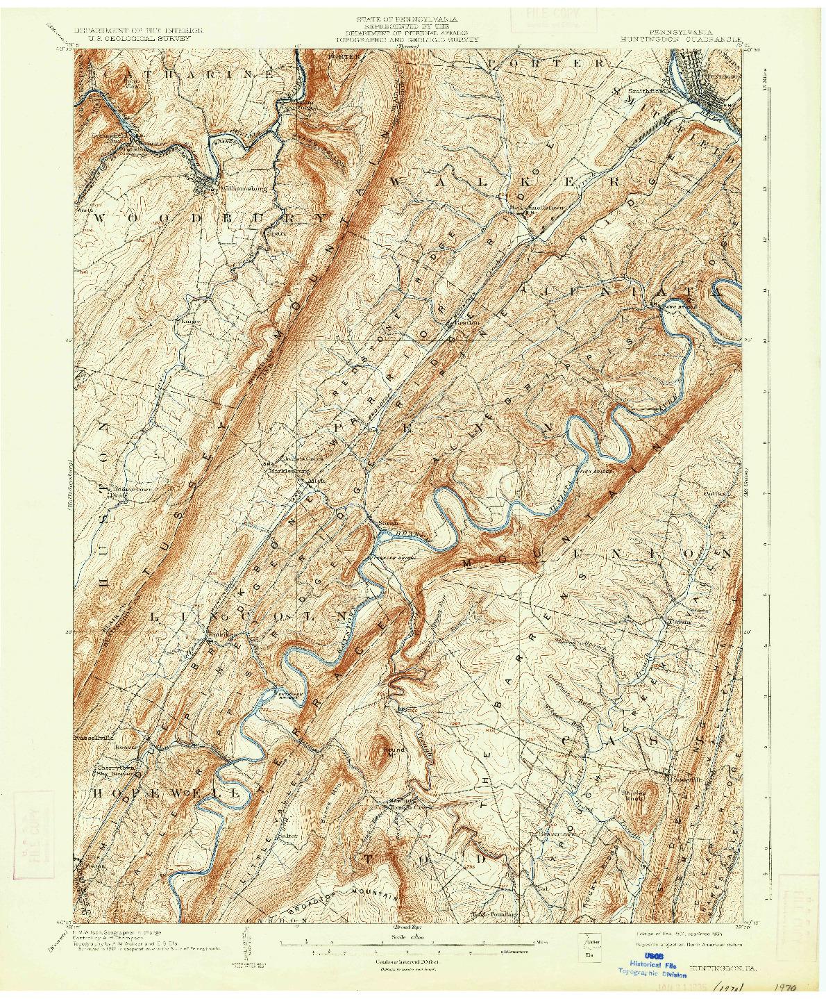 USGS 1:62500-SCALE QUADRANGLE FOR HUNTINGDON, PA 1904
