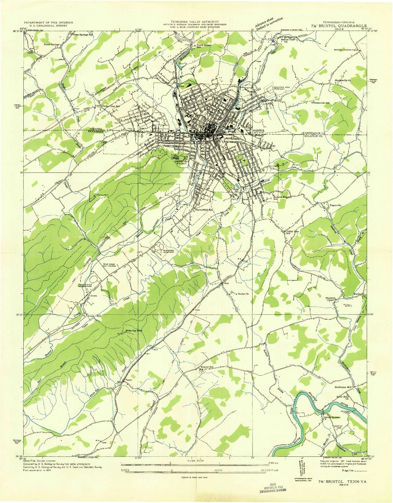 USGS 1:24000-SCALE QUADRANGLE FOR BRISTOL, TN 1934