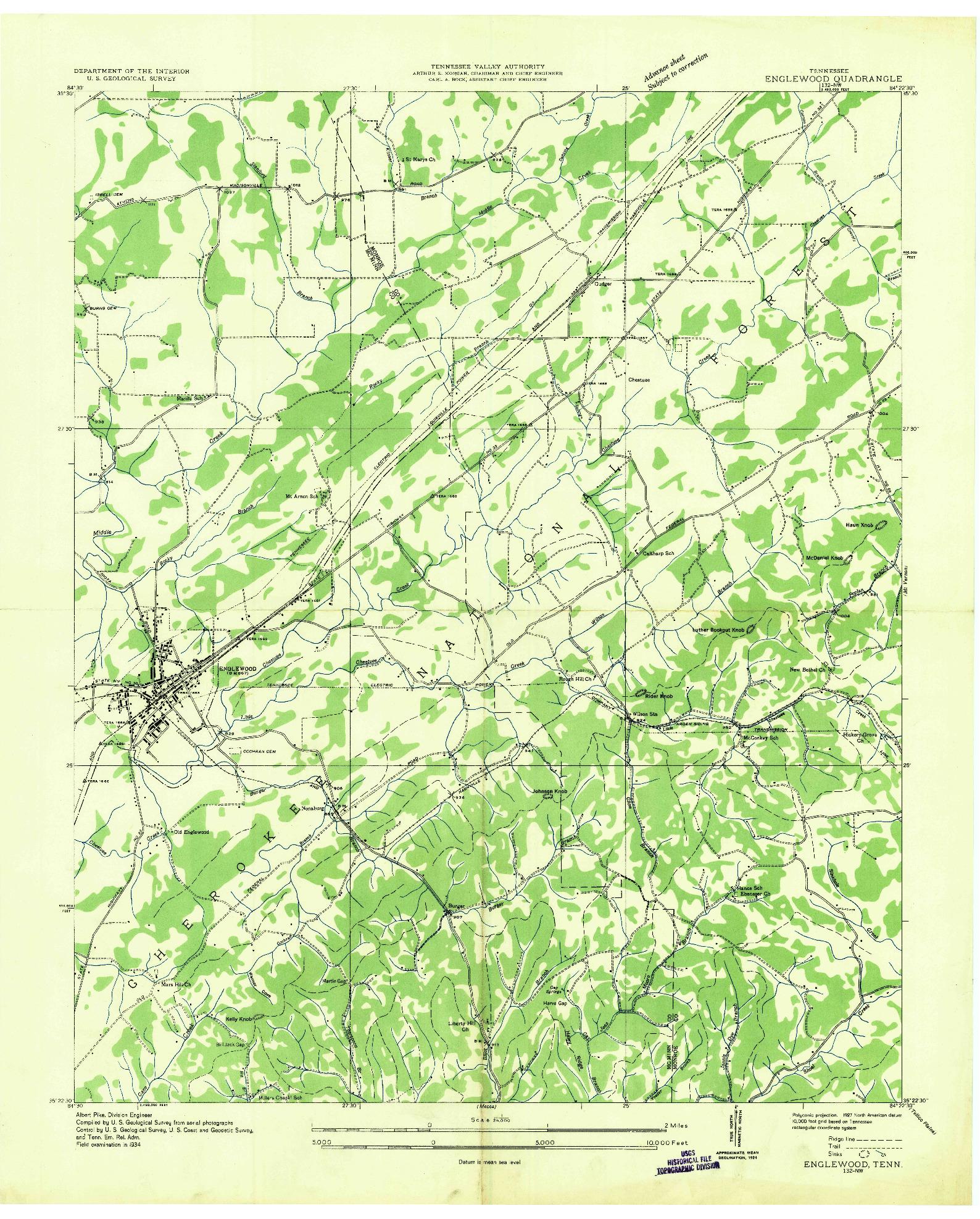 USGS 1:24000-SCALE QUADRANGLE FOR ENGLEWOOD, TN 1934