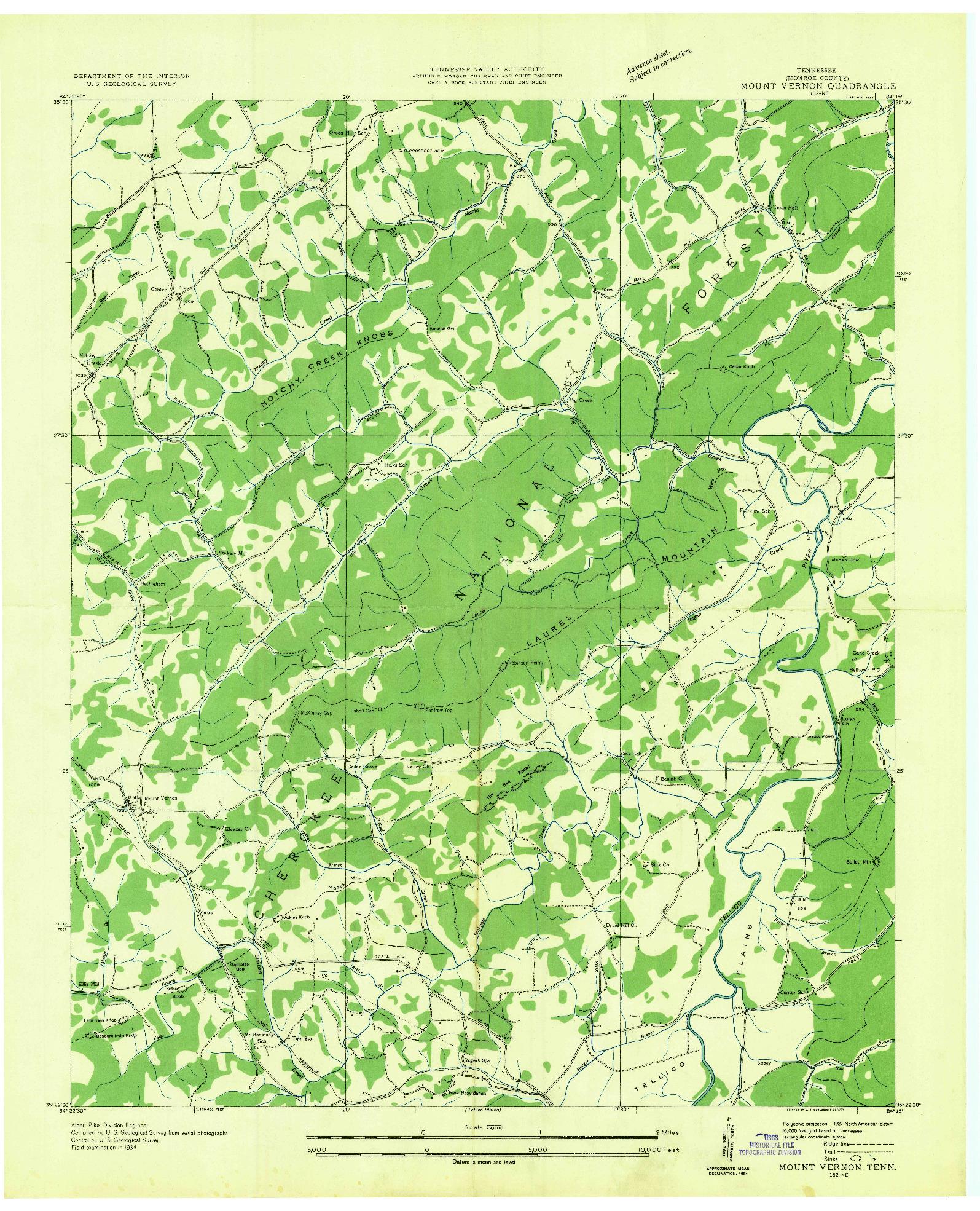 USGS 1:24000-SCALE QUADRANGLE FOR MOUNT VERNON, TN 1934