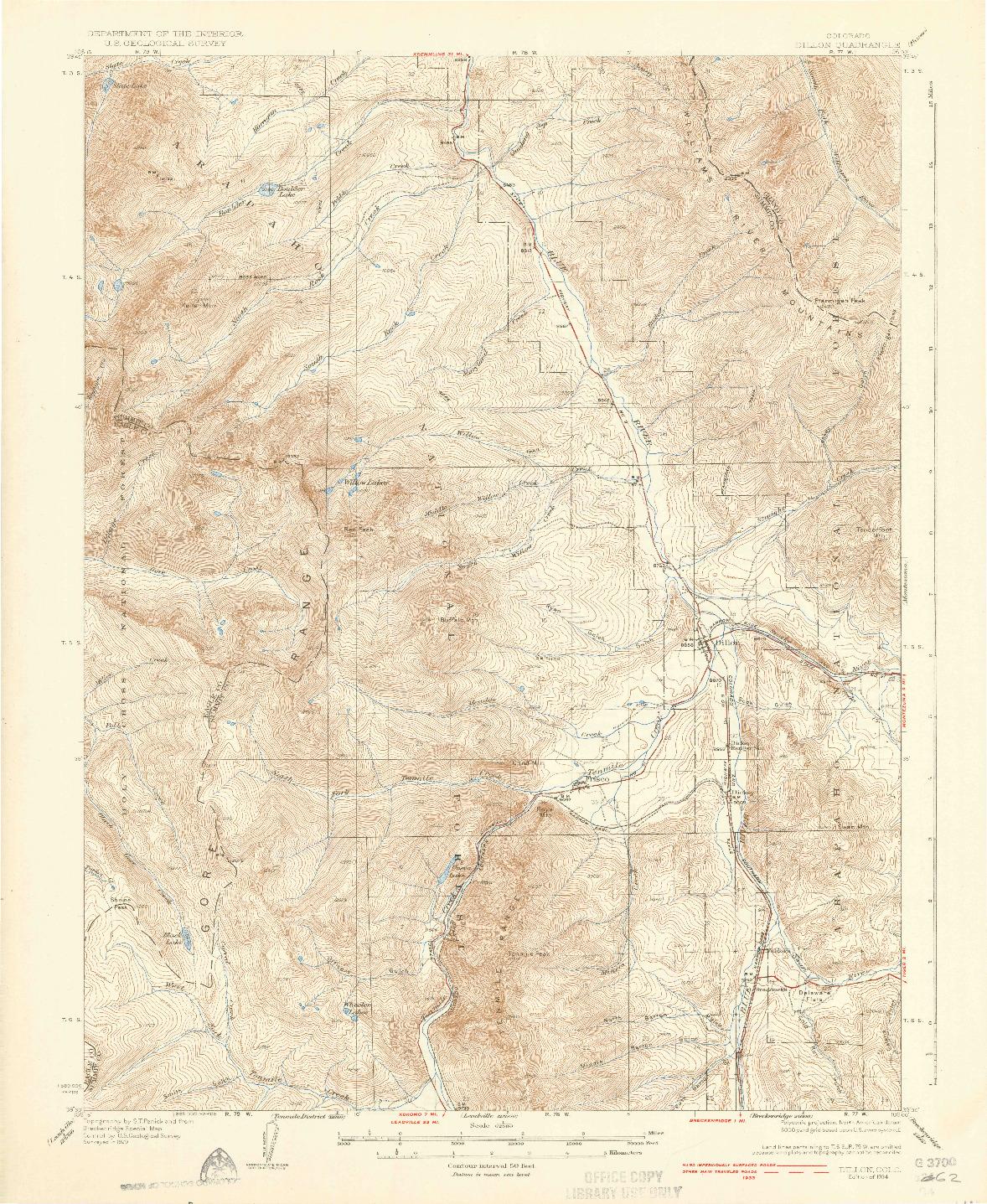 USGS 1:62500-SCALE QUADRANGLE FOR DILLON, CO 1934