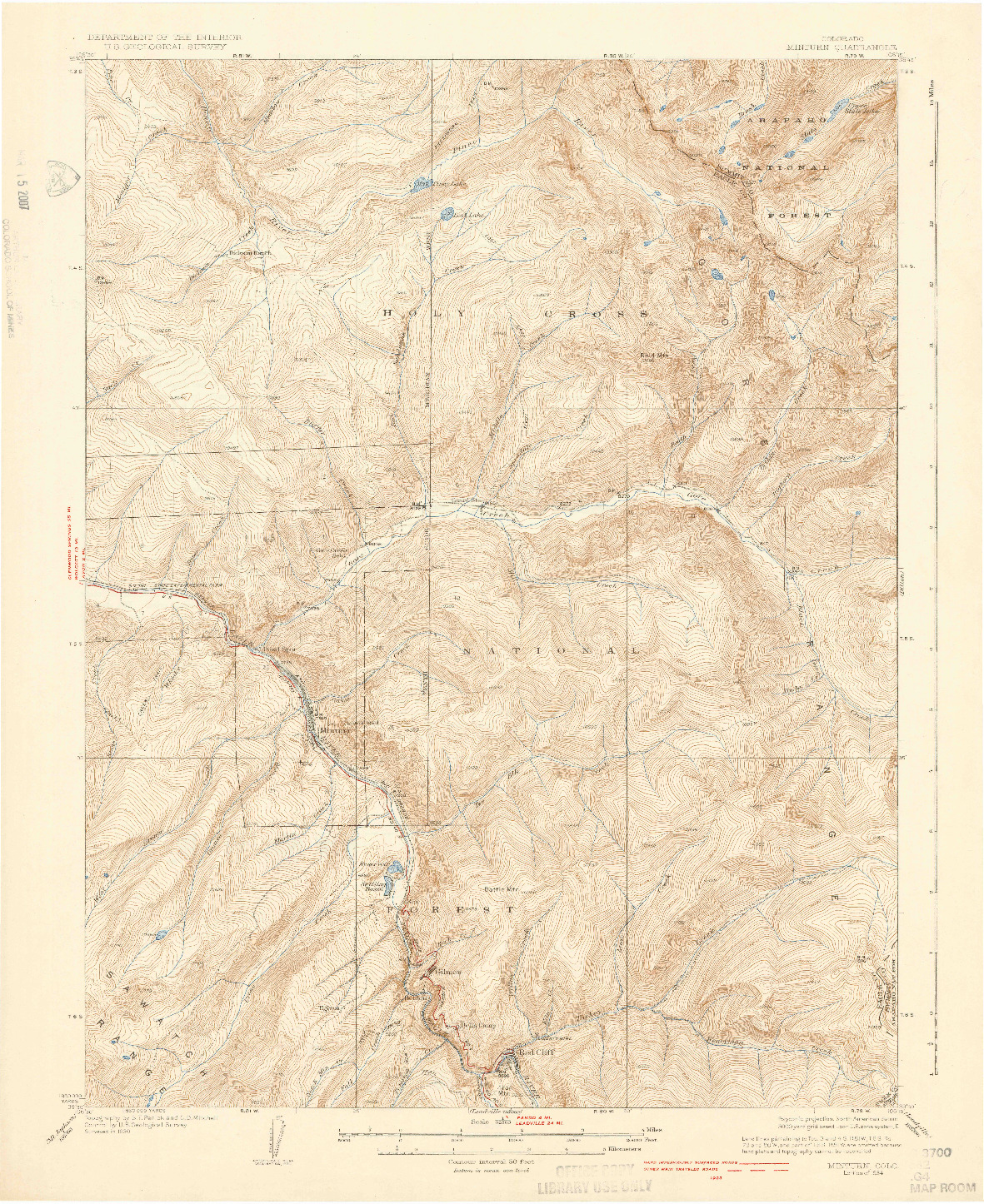 USGS 1:62500-SCALE QUADRANGLE FOR MINTURN, CO 1934