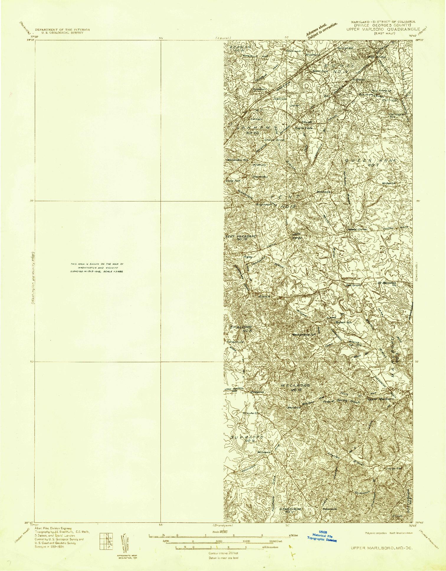 USGS 1:48000-SCALE QUADRANGLE FOR UPPER MARLBORO (EAST HALF), MD 1934