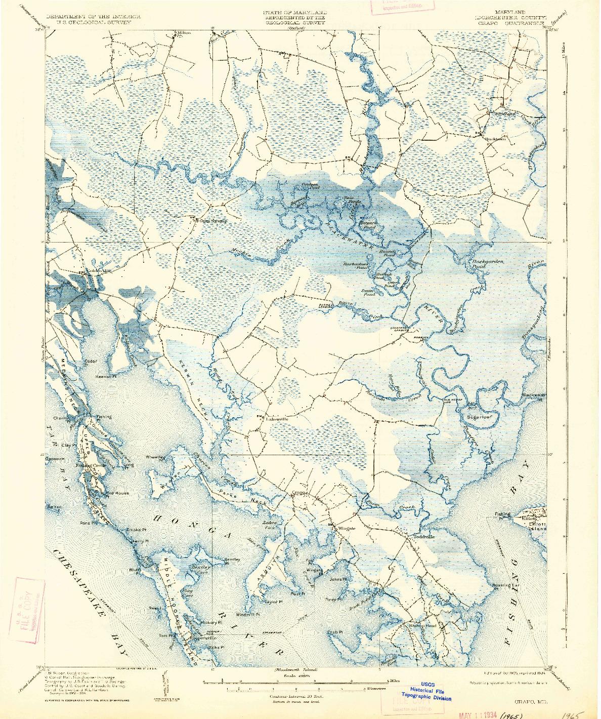 USGS 1:62500-SCALE QUADRANGLE FOR CRAPO, MD 1905