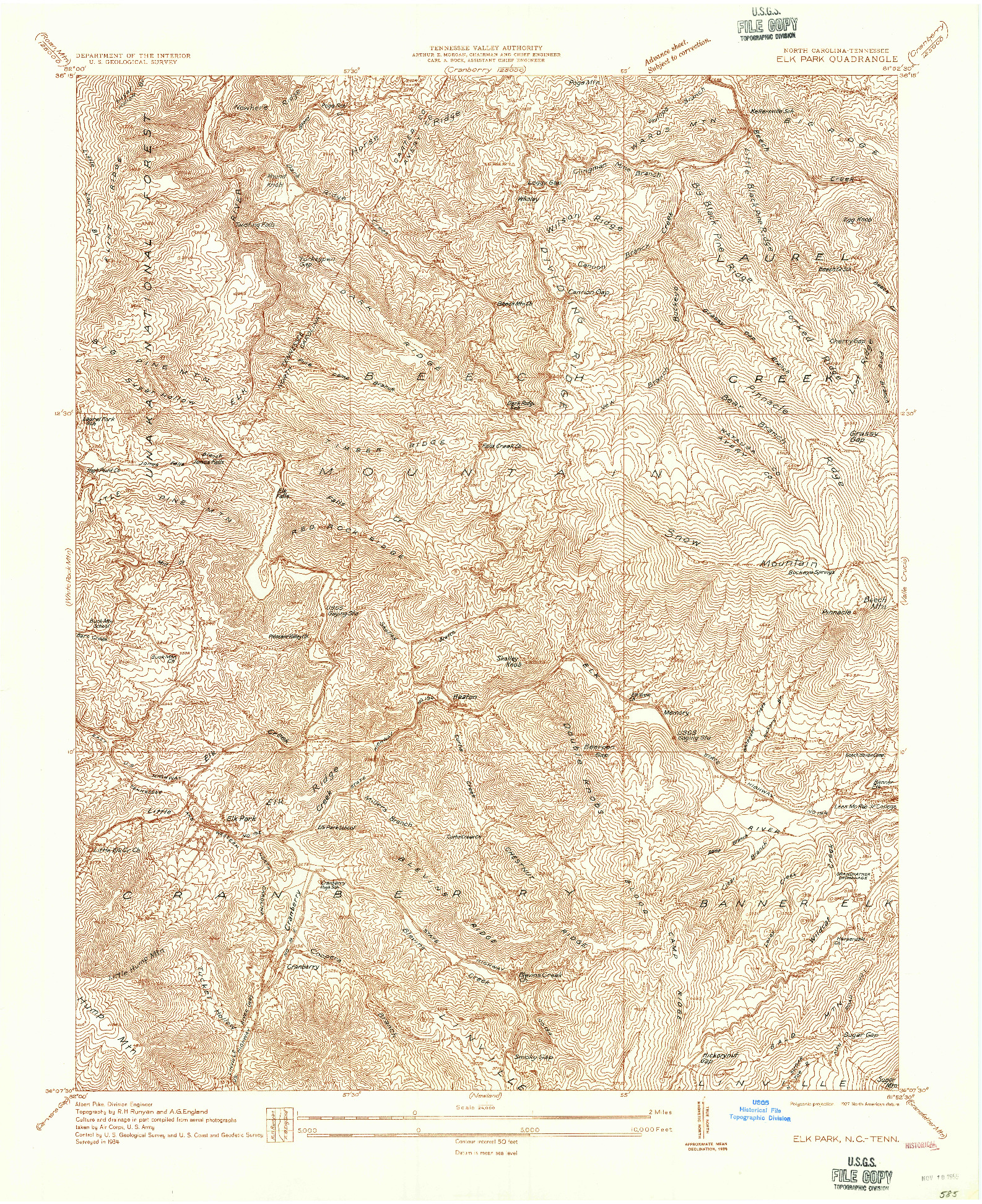 USGS 1:24000-SCALE QUADRANGLE FOR ELK PARK, NC 1934