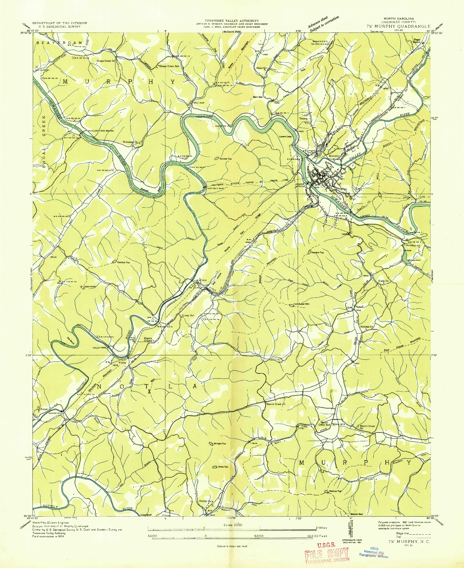 USGS 1:24000-SCALE QUADRANGLE FOR MURPHY, NC 1934