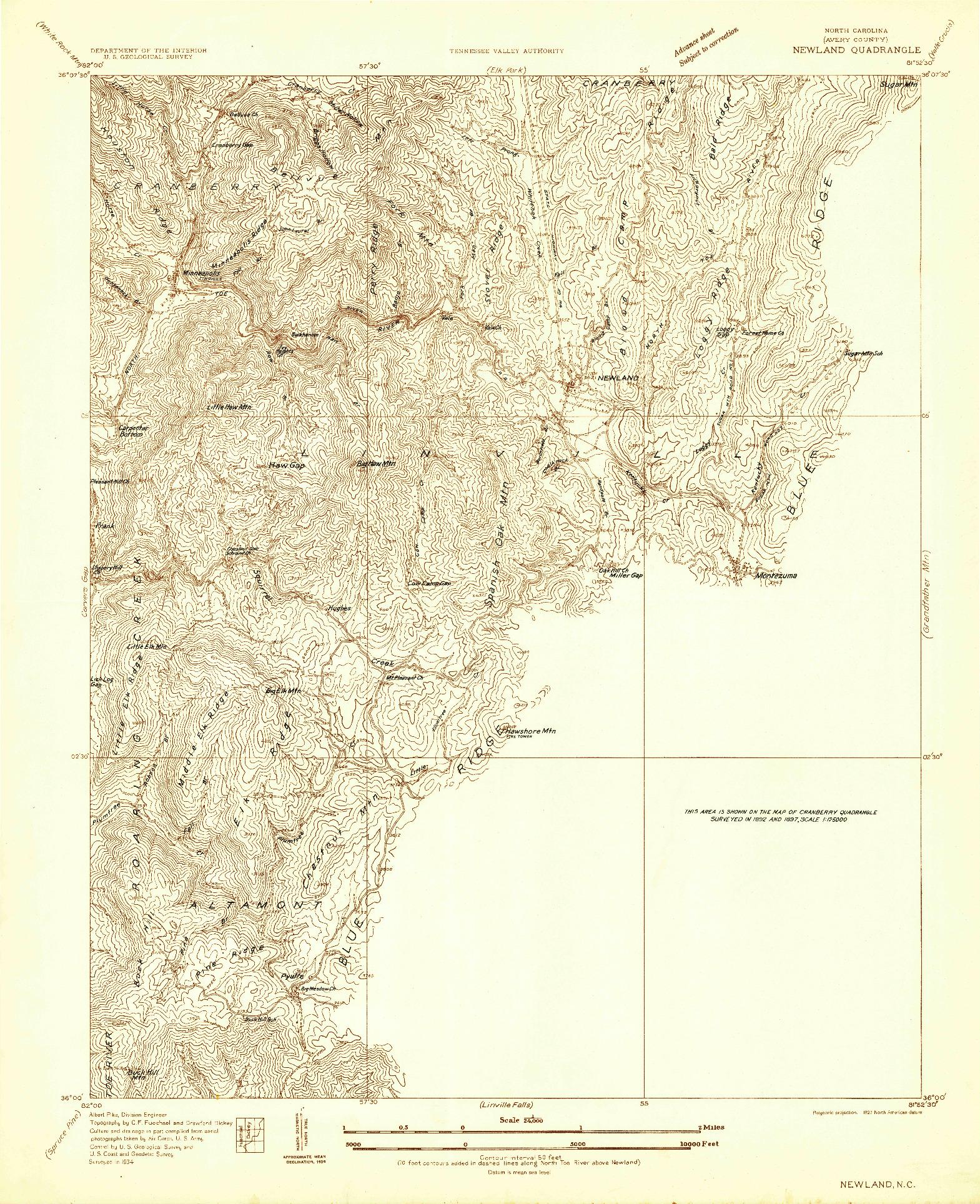 USGS 1:24000-SCALE QUADRANGLE FOR NEWLAND, NC 1934