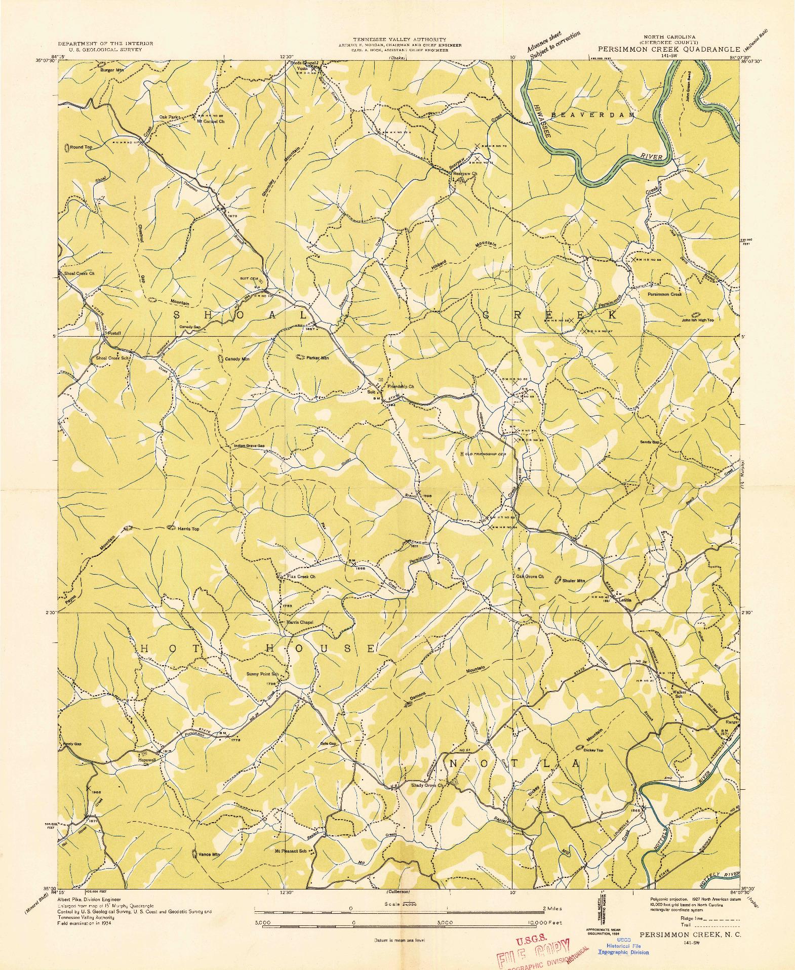 USGS 1:24000-SCALE QUADRANGLE FOR PERSIMMON CREEK, NC 1934