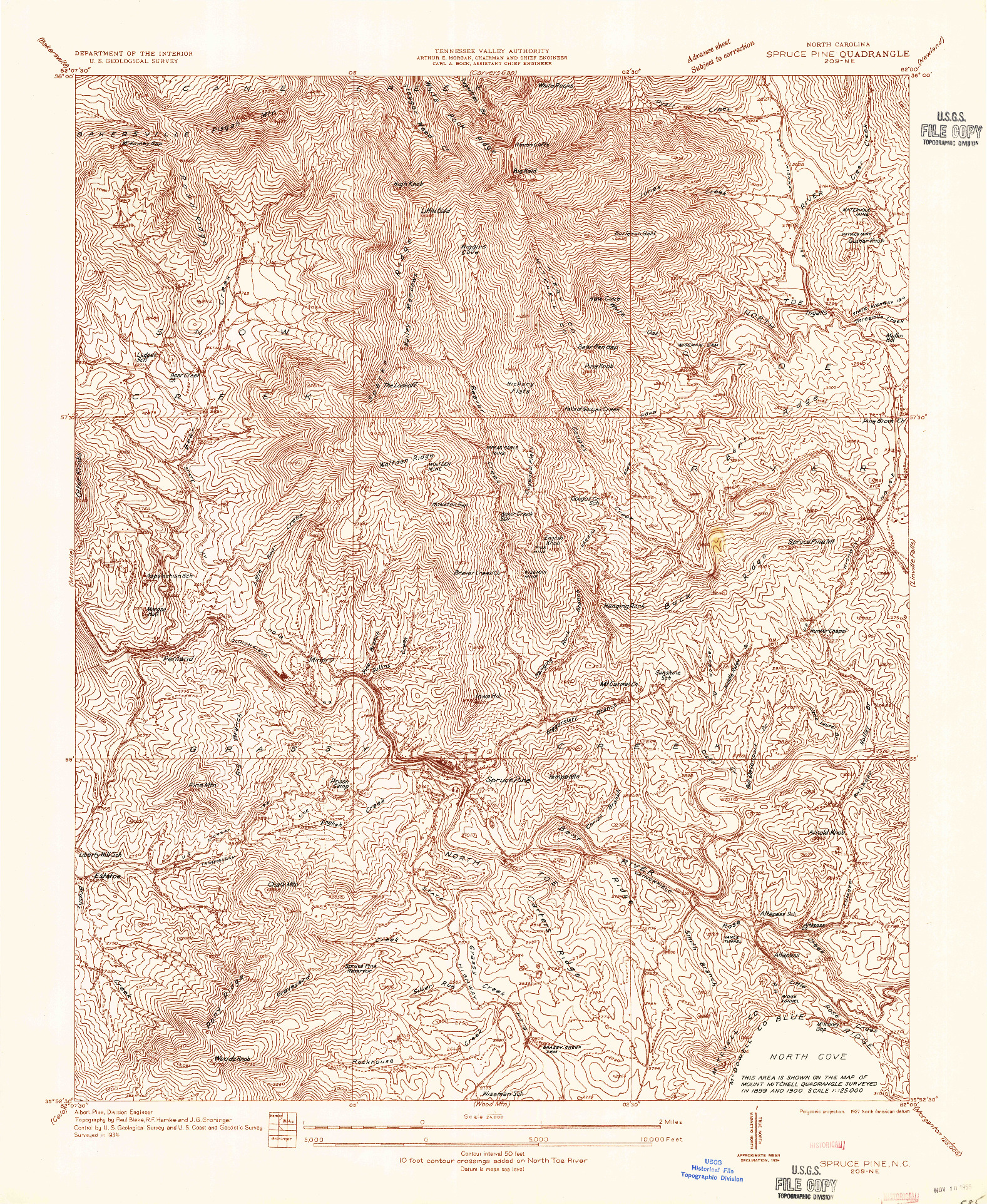 USGS 1:24000-SCALE QUADRANGLE FOR SPRUCE PINE, NC 1934