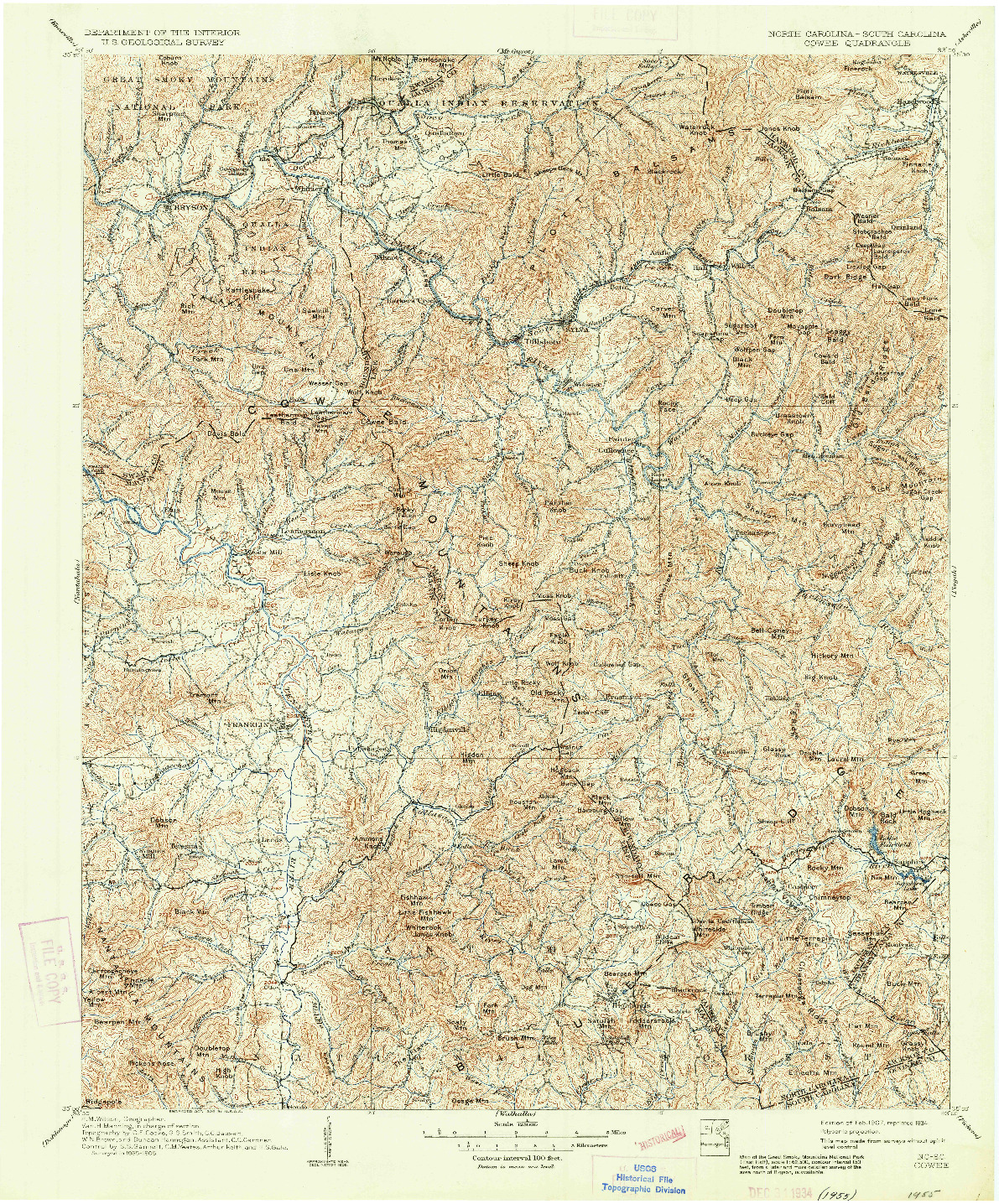 USGS 1:125000-SCALE QUADRANGLE FOR COWEE, NC 1907