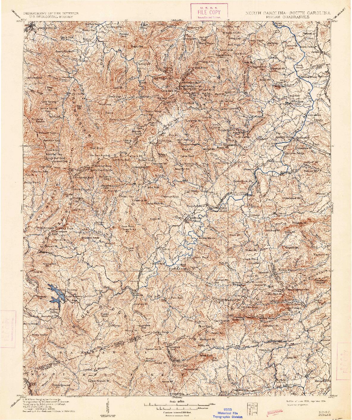 USGS 1:125000-SCALE QUADRANGLE FOR PISGAH, NC 1906