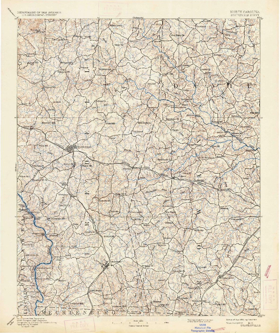 USGS 1:125000-SCALE QUADRANGLE FOR STATESVILLE, NC 1893