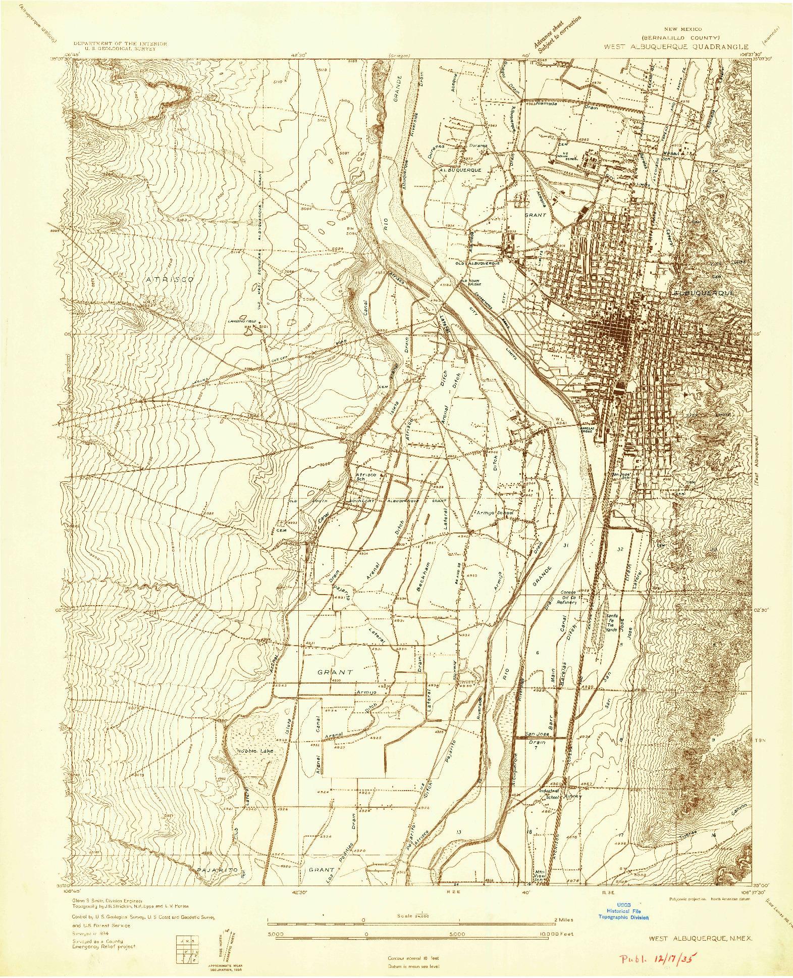 USGS 1:24000-SCALE QUADRANGLE FOR WEST ALBUQUERQUE, NM 1934