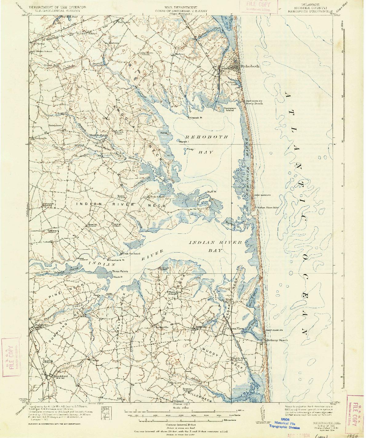 USGS 1:62500-SCALE QUADRANGLE FOR REHOBOTH, DE 1918