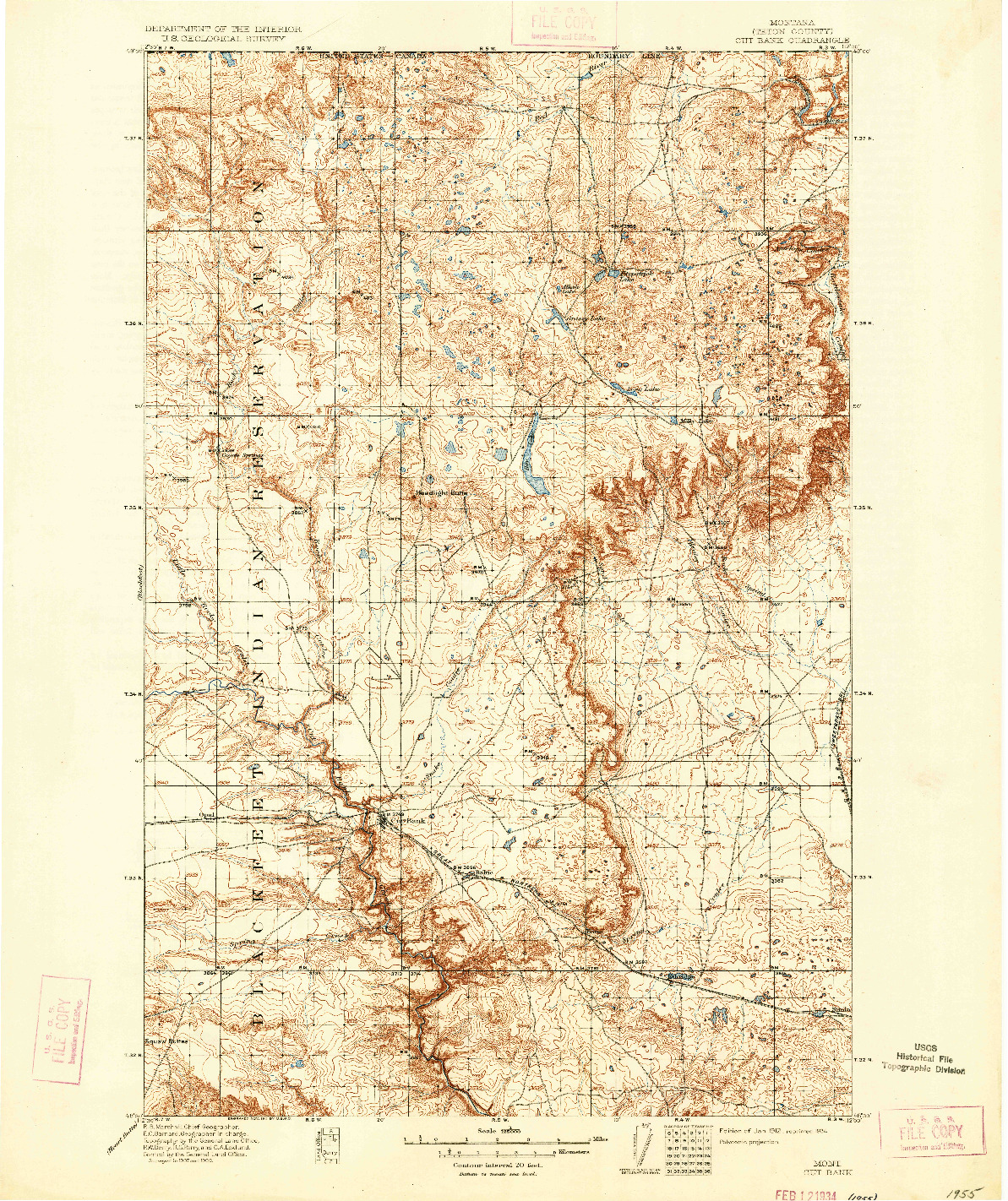 USGS 1:125000-SCALE QUADRANGLE FOR CUT BANK, MT 1912