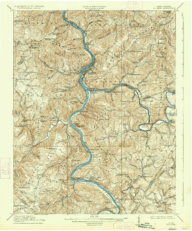 USGS 1:62500-SCALE QUADRANGLE FOR BIG BEND, WV 1914