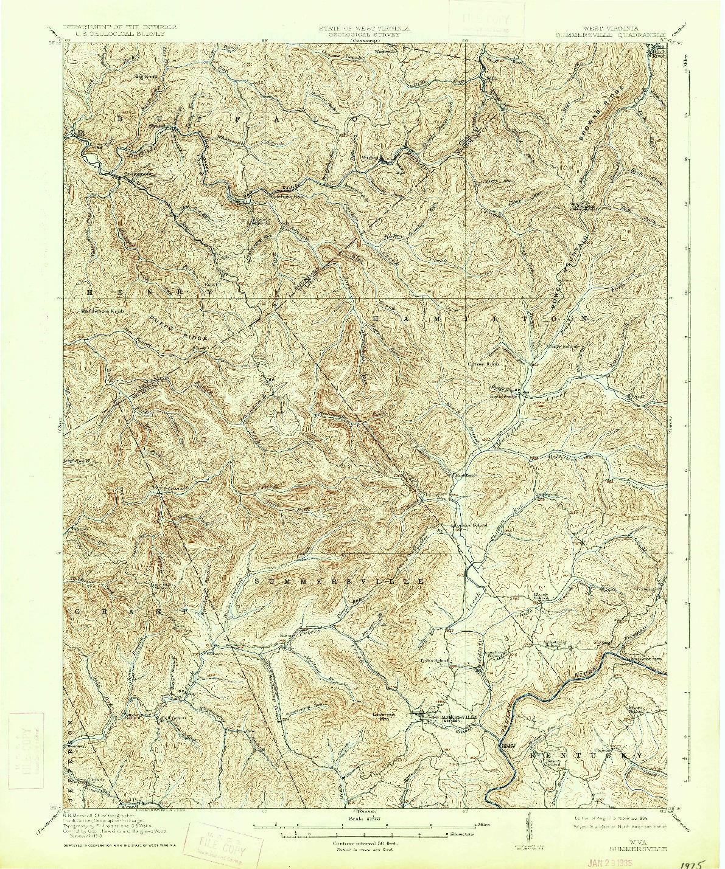 USGS 1:62500-SCALE QUADRANGLE FOR SUMMERSVILLE, WV 1915