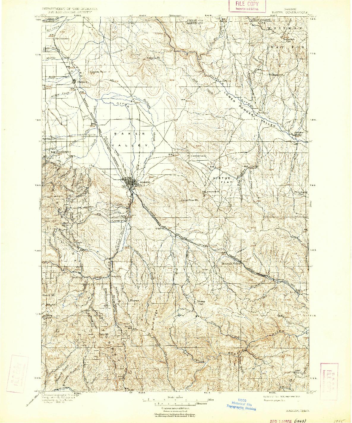 USGS 1:125000-SCALE QUADRANGLE FOR BAKER, OR 1901