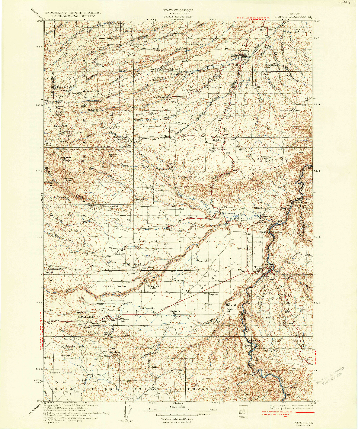 USGS 1:125000-SCALE QUADRANGLE FOR DUFUR, OR 1934