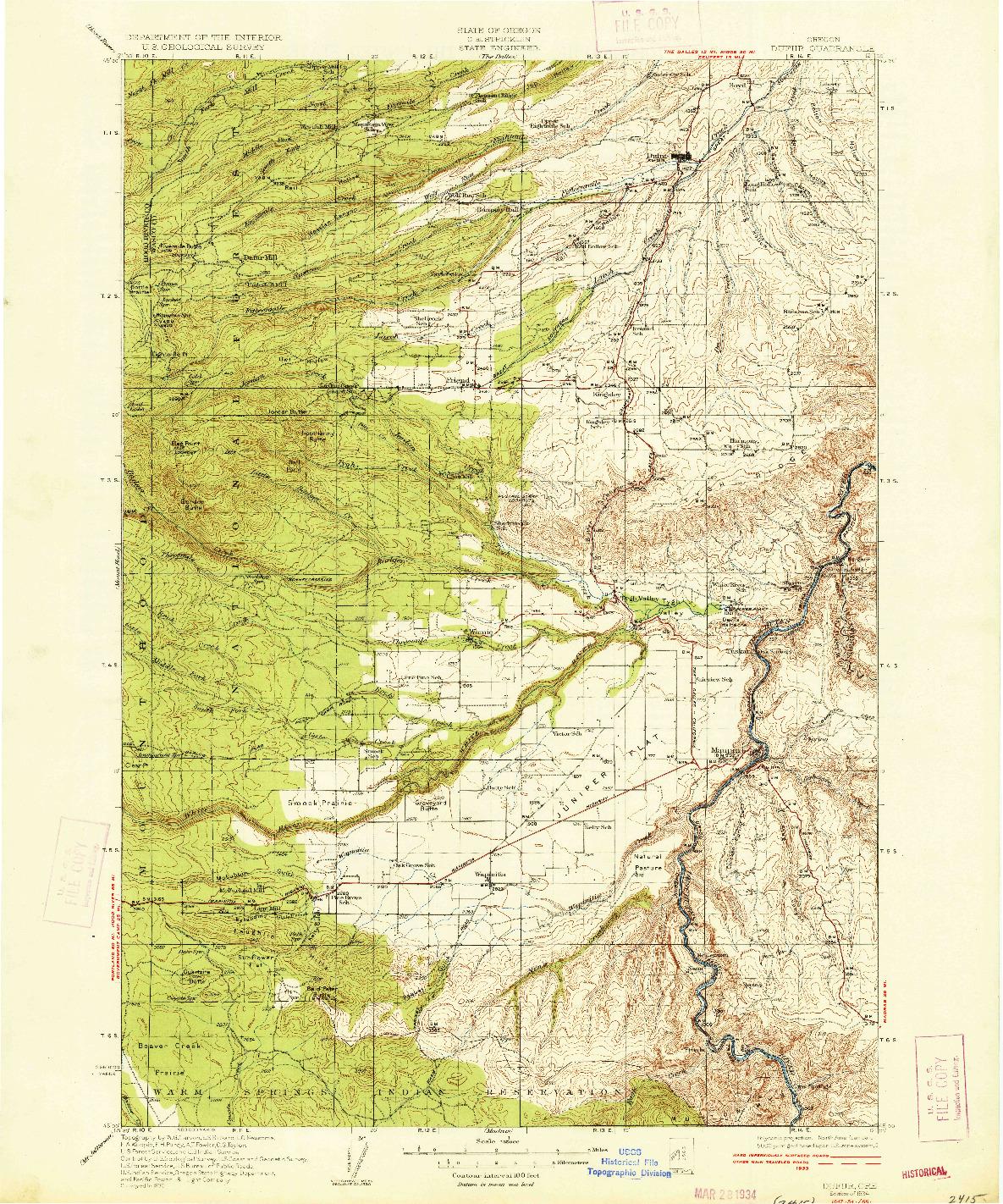 USGS 1:125000-SCALE QUADRANGLE FOR DUFUR, OR 1934